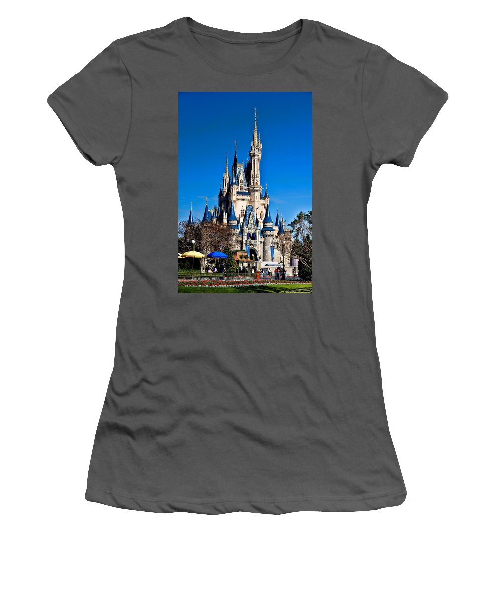 Cinderella Castle Women's T-Shirt (Athletic Fit) featuring the photograph Cinderella Castle by Tommy Anderson