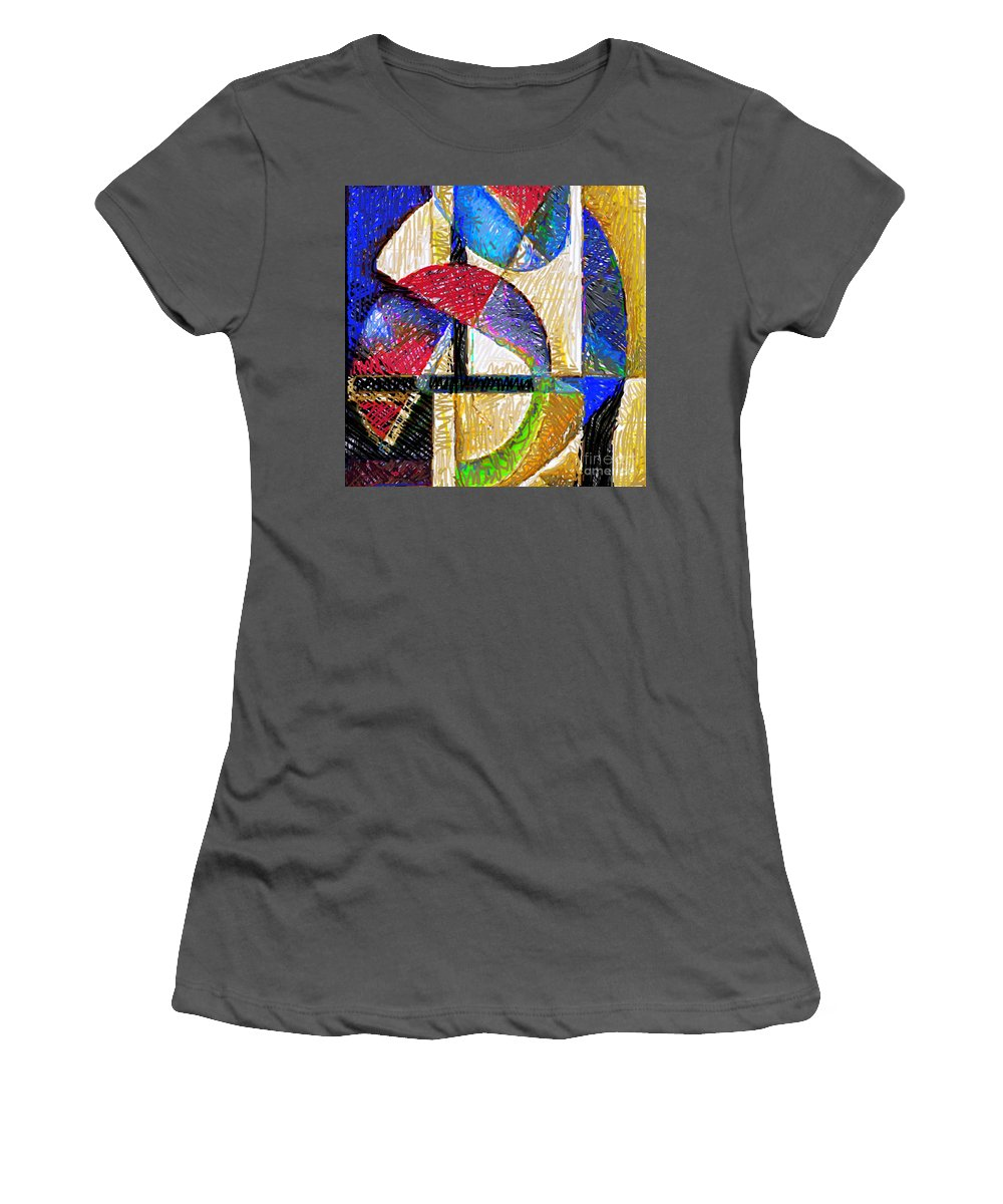 Rafael Salazar Women's T-Shirt (Athletic Fit) featuring the digital art Circles And Shapes by Rafael Salazar
