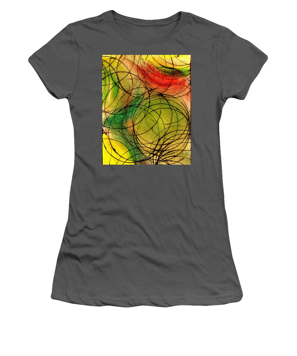 Abstract Women's T-Shirt (Athletic Fit) featuring the painting Circles by Wayne Potrafka