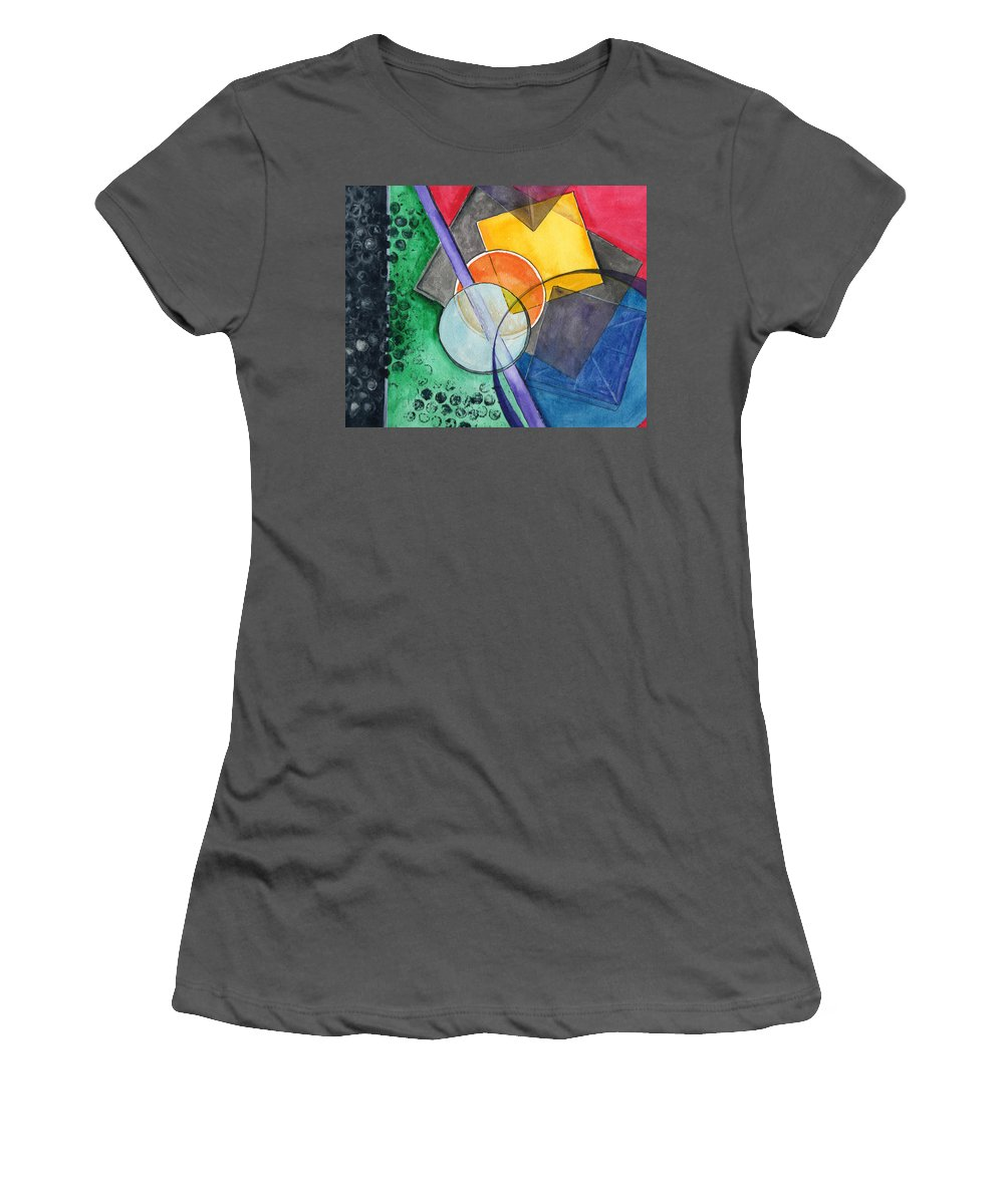Watercolor Women's T-Shirt (Athletic Fit) featuring the painting Circular Confusion by Brenda Owen