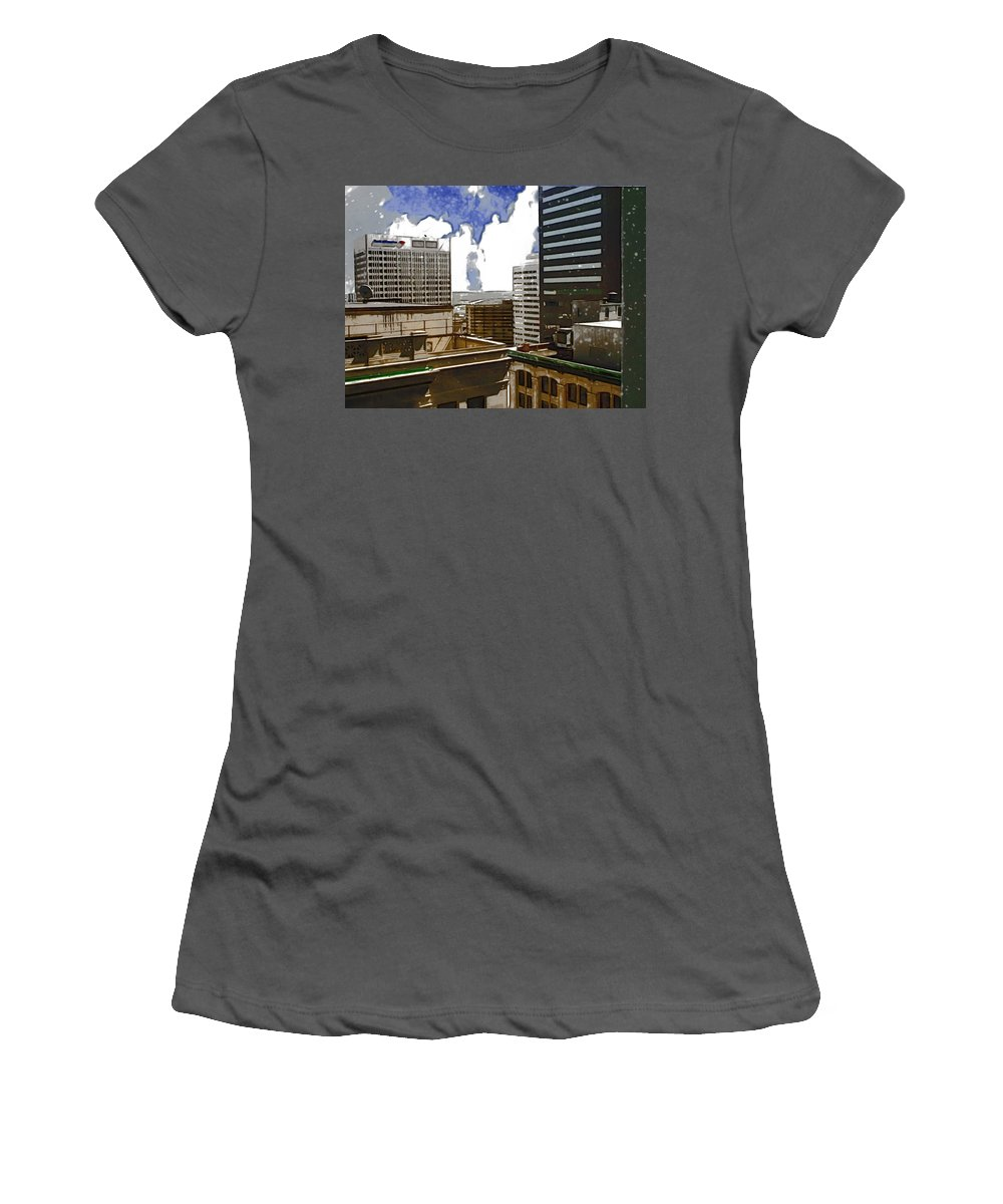 City Women's T-Shirt (Athletic Fit) featuring the photograph City Skies by Paulette B Wright