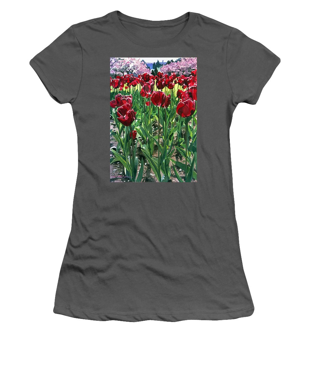 Tulip Women's T-Shirt (Athletic Fit) featuring the painting Claret Tulips by David Lloyd Glover