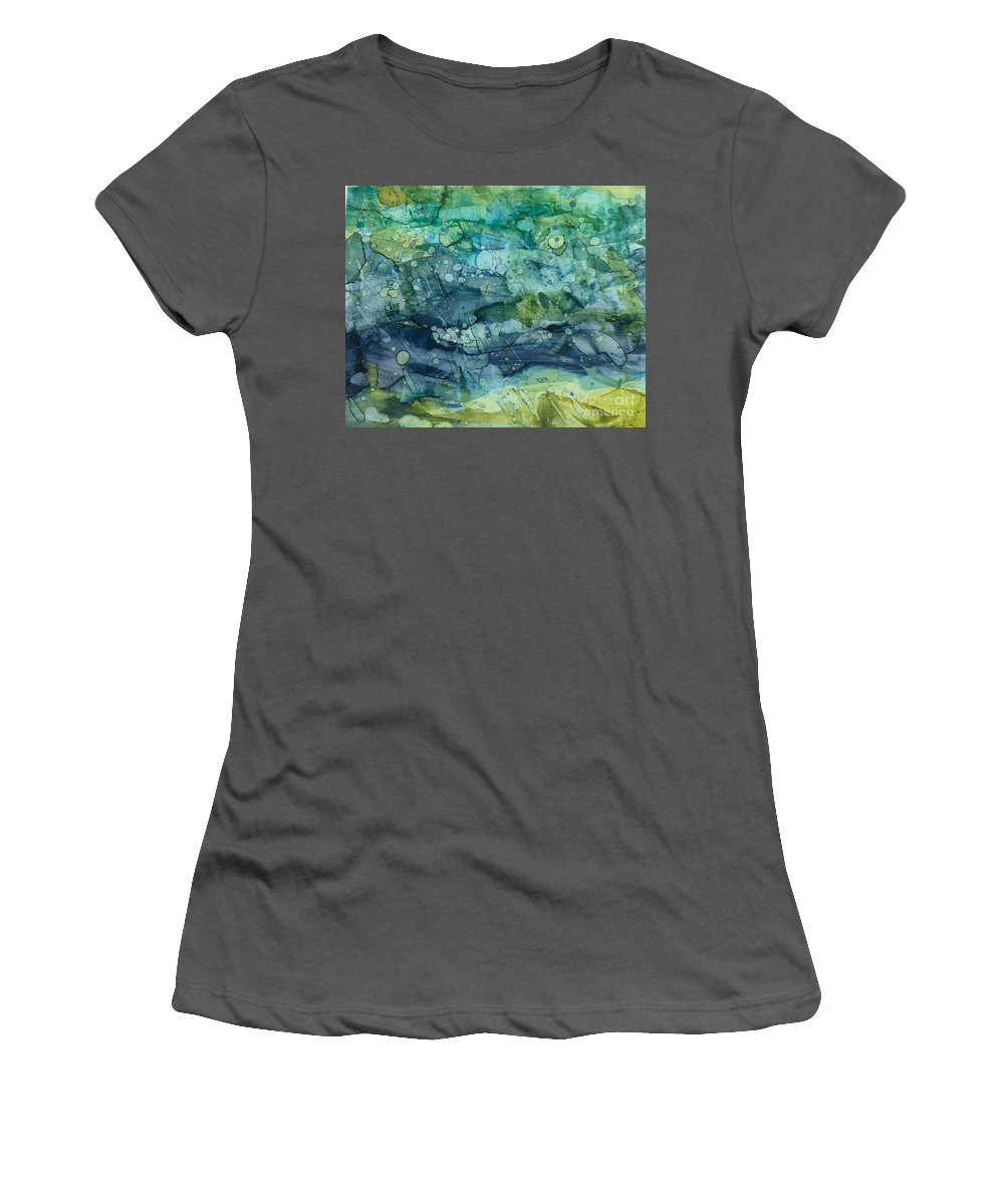 Abstract Women's T-Shirt (Athletic Fit) featuring the painting Clear Flow by Nancy Koehler