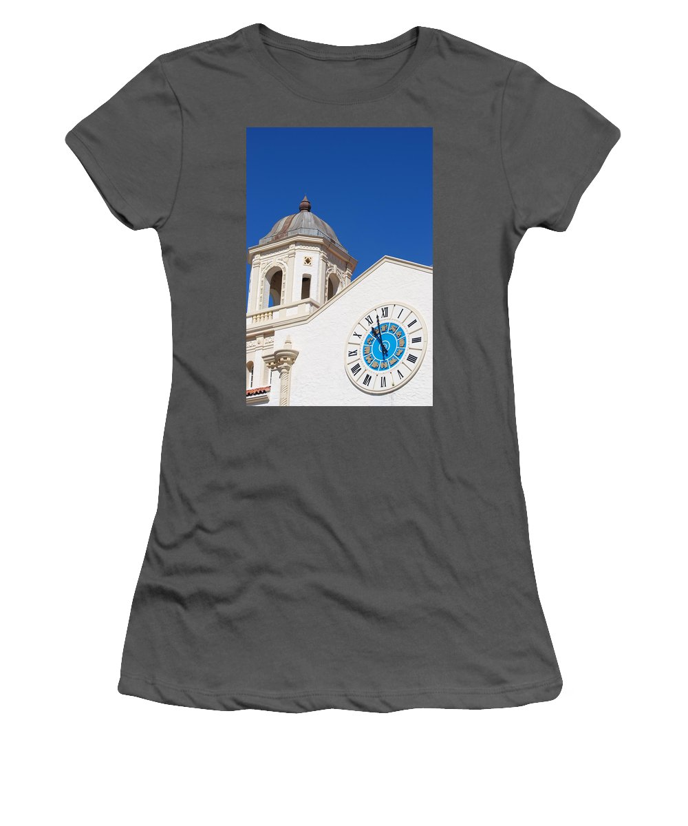 Clock Women's T-Shirt (Athletic Fit) featuring the photograph Clock And Tower by Rob Hans