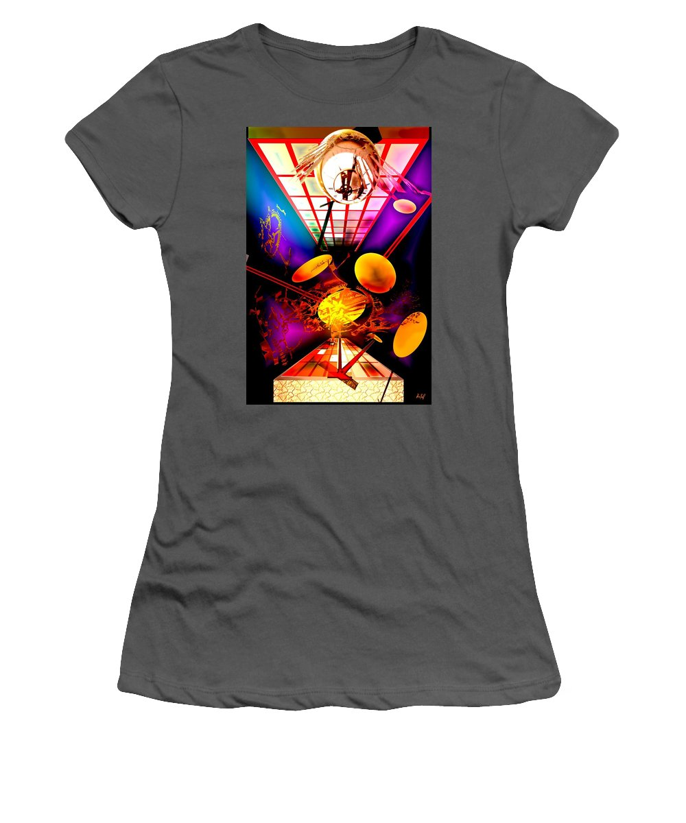 Clock Women's T-Shirt (Athletic Fit) featuring the digital art Clock-sync by Helmut Rottler