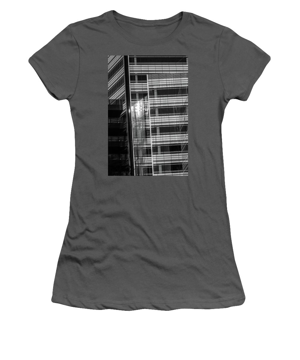 Architecture Women's T-Shirt (Athletic Fit) featuring the photograph Close Up Of Black And White Glass Building by Jacek Wojnarowski