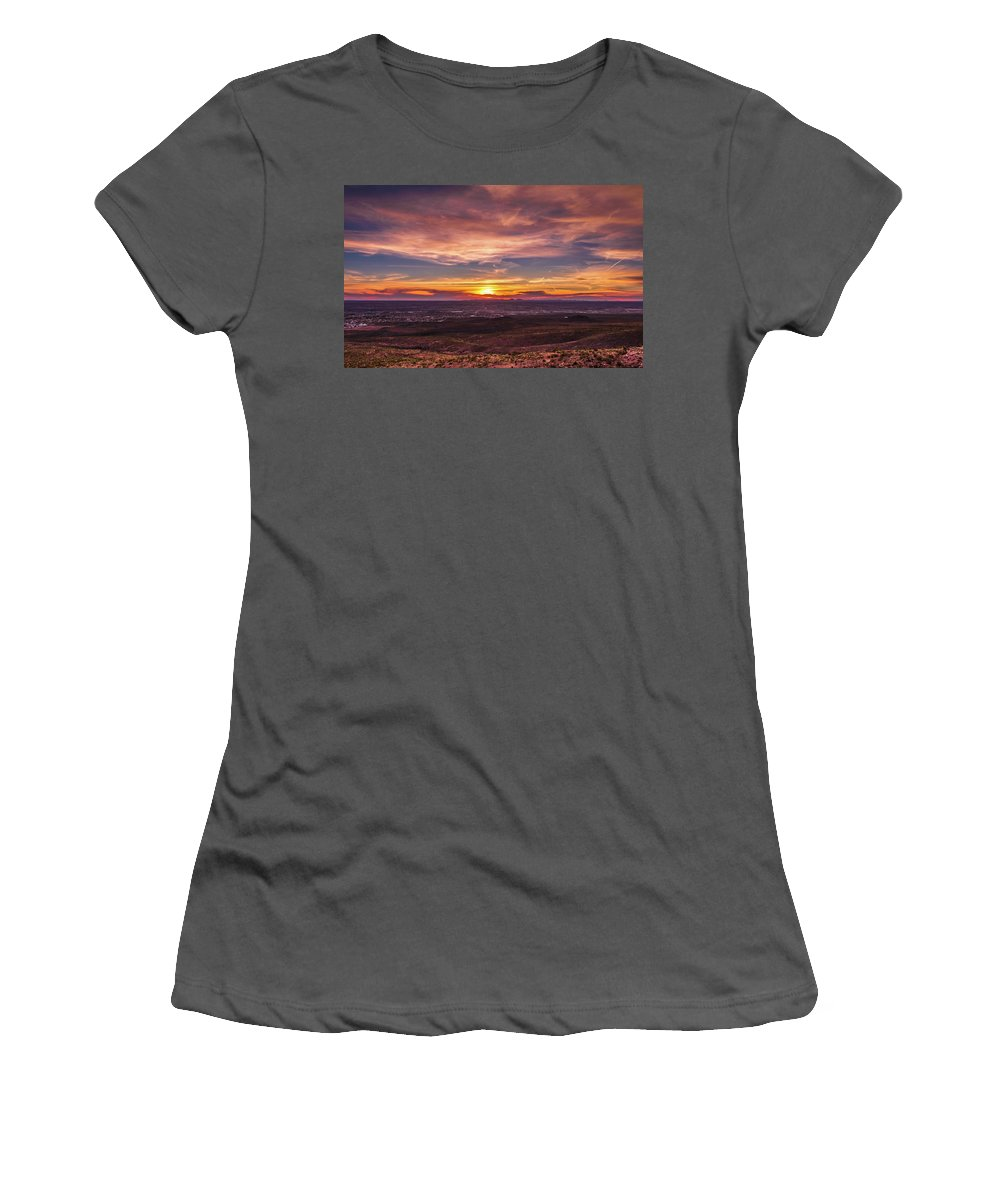 Sunset Women's T-Shirt (Athletic Fit) featuring the photograph Clouds And Sunset by Subhadra Burugula
