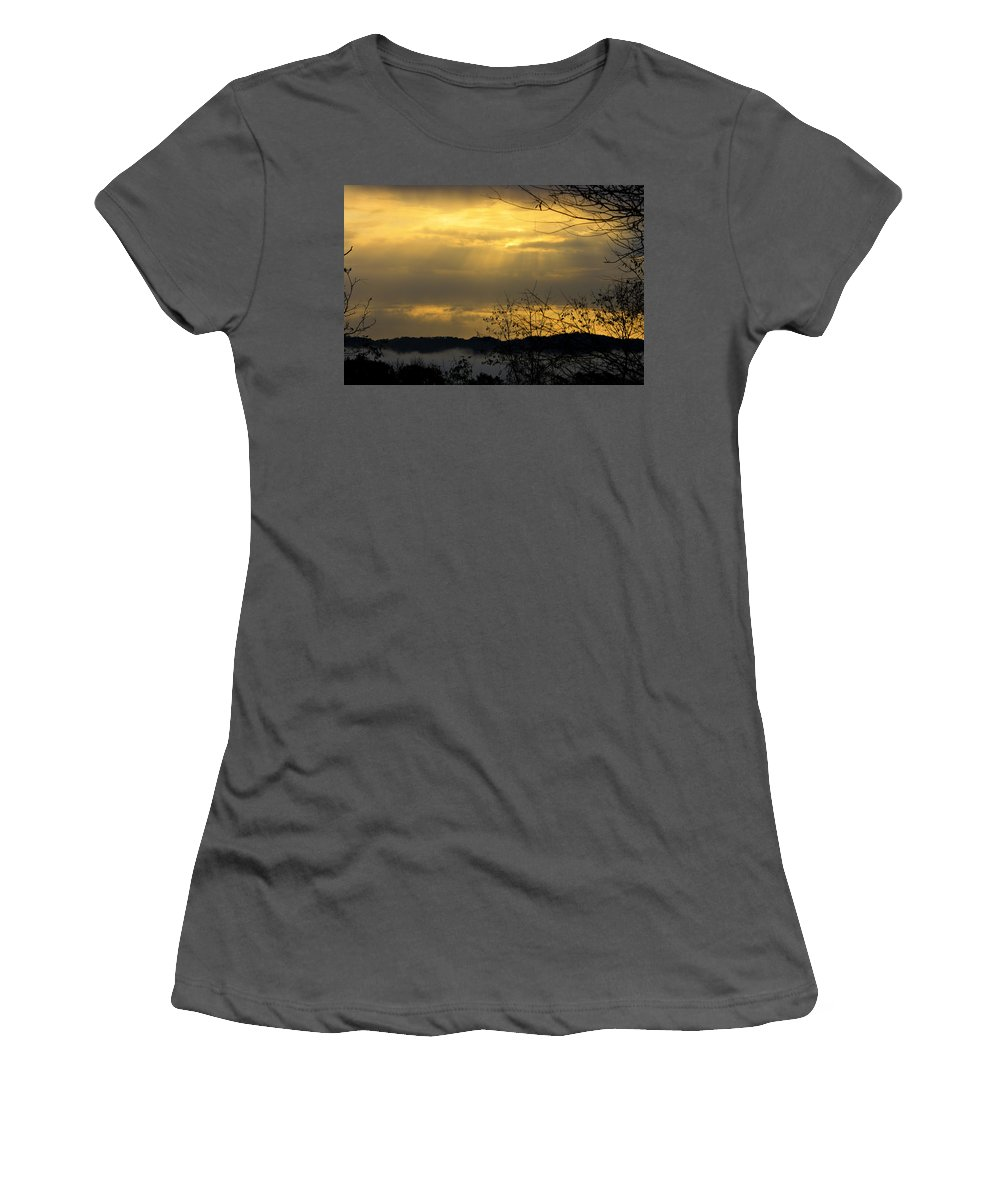 Sunrise Women's T-Shirt (Athletic Fit) featuring the photograph Cloudy Sunrise 3 by Teresa Mucha