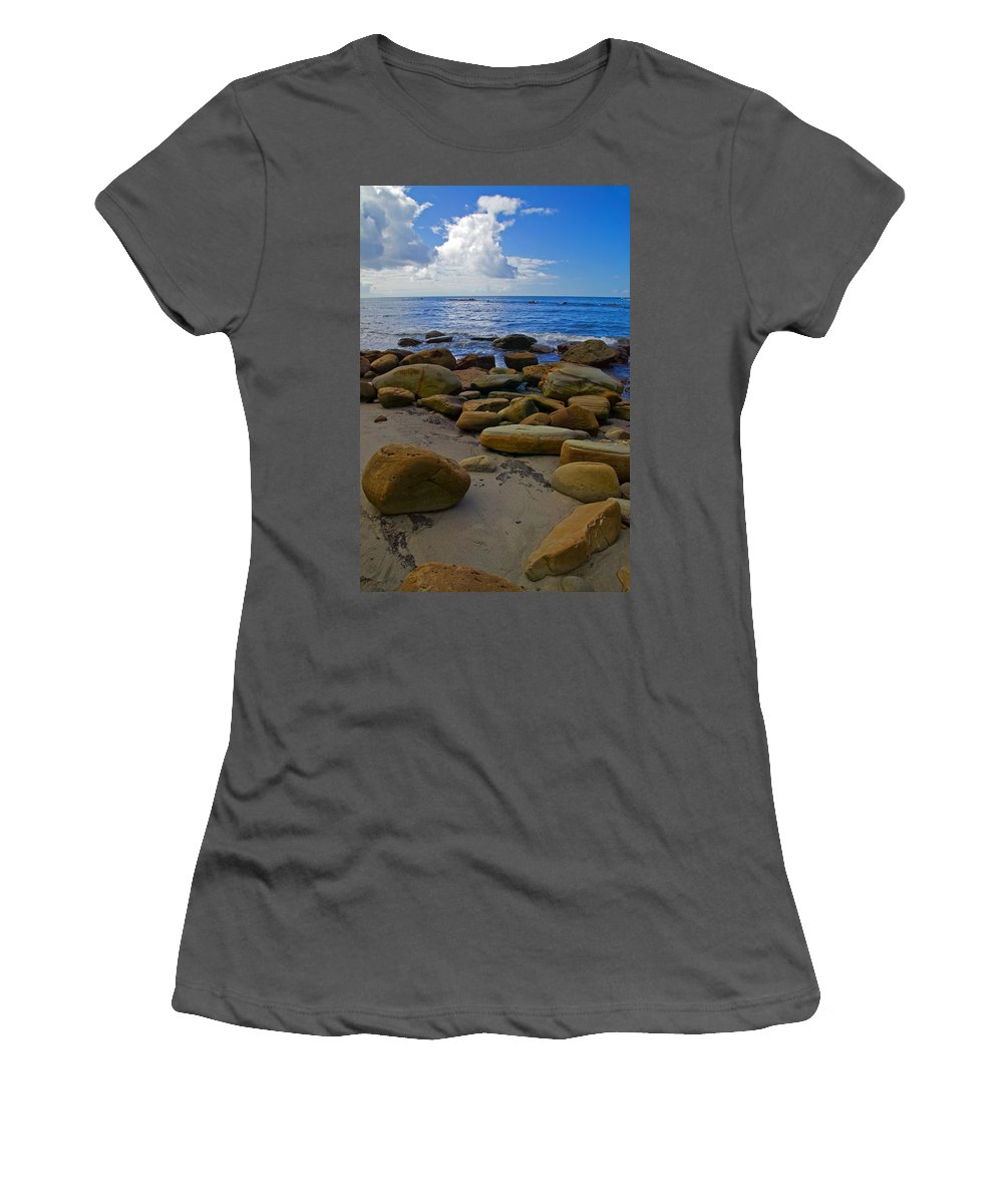 Oceancsape Women's T-Shirt (Athletic Fit) featuring the photograph Coarse Sand by Randall Ingalls