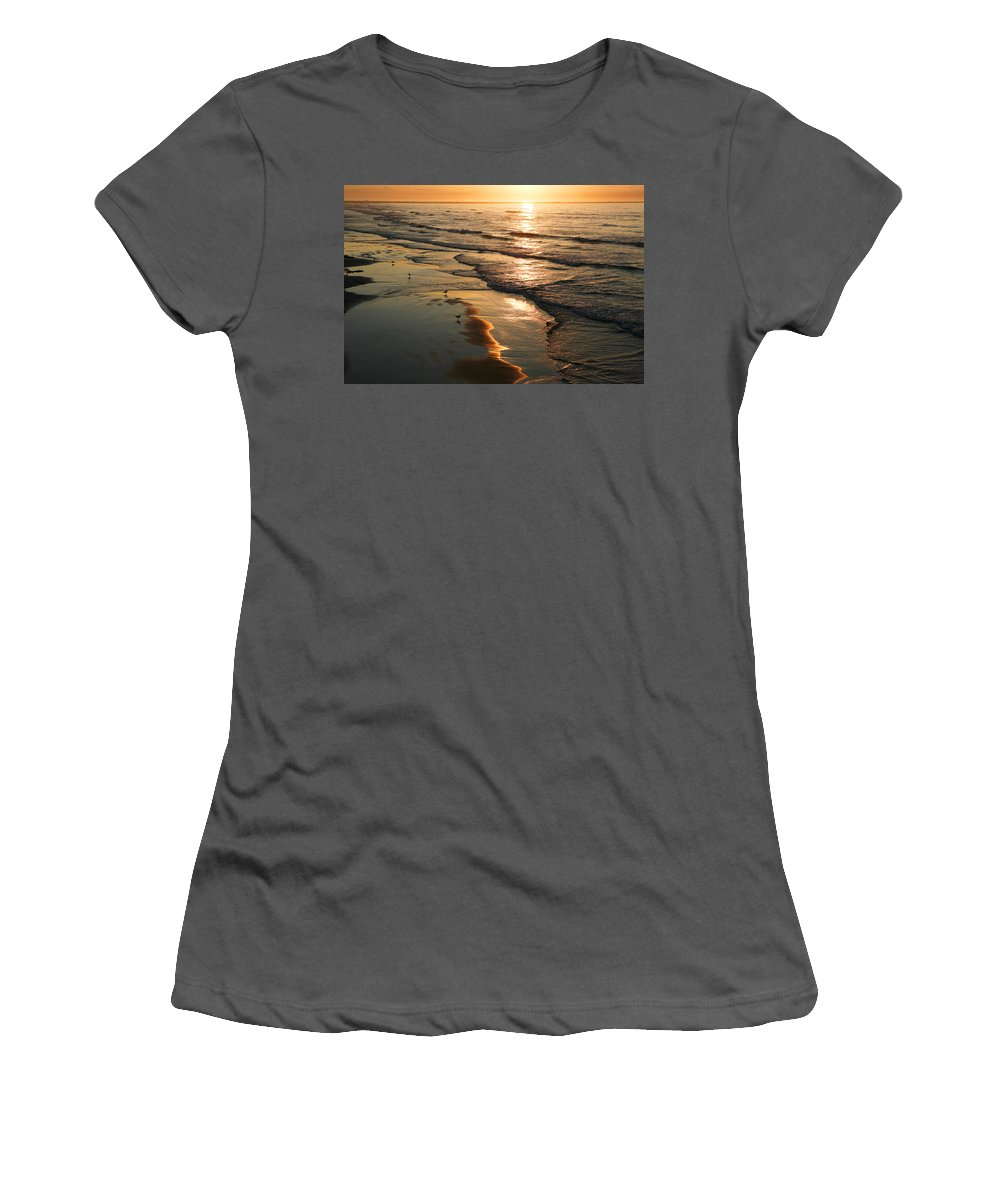 Beach Women's T-Shirt (Athletic Fit) featuring the photograph Coastal Sunrise by Marilyn Hunt