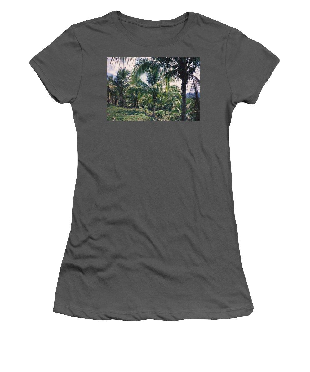 Jamaica Women's T-Shirt (Athletic Fit) featuring the photograph Coconut Farm by Debbie Levene