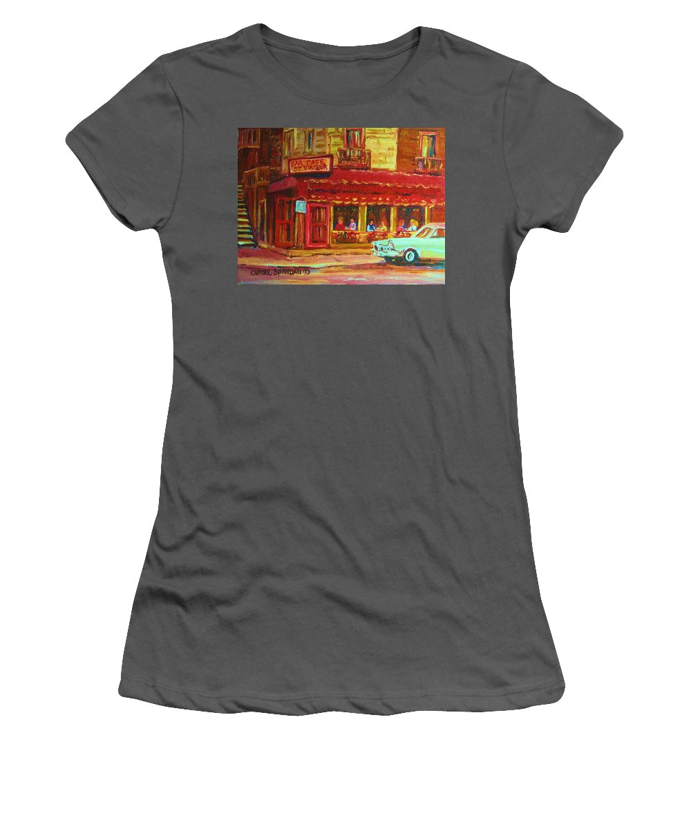 St Women's T-Shirt (Athletic Fit) featuring the painting Coffee Bar On The Corner by Carole Spandau