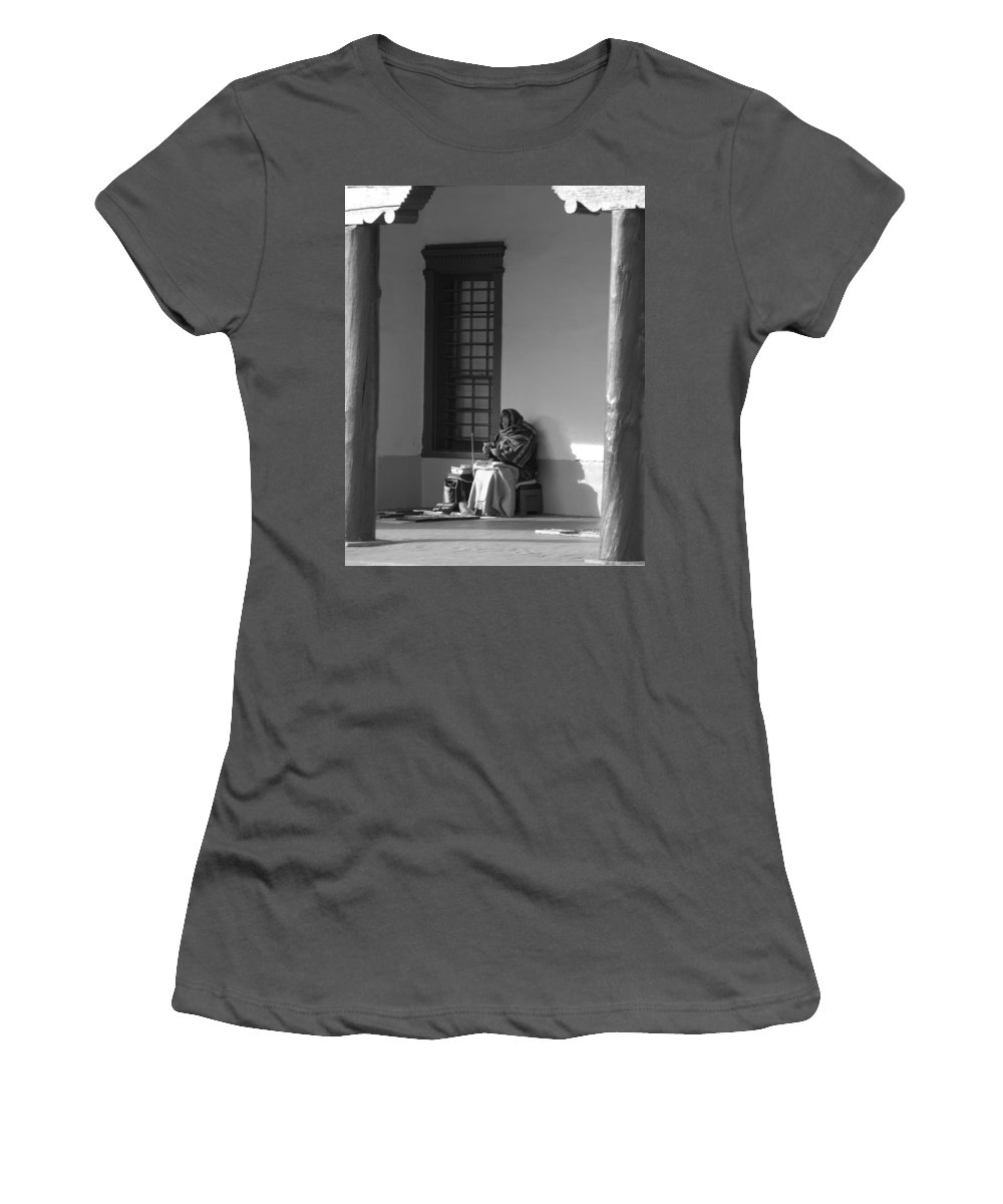 Southwestern Women's T-Shirt (Athletic Fit) featuring the photograph Cold Native American Woman by Rob Hans
