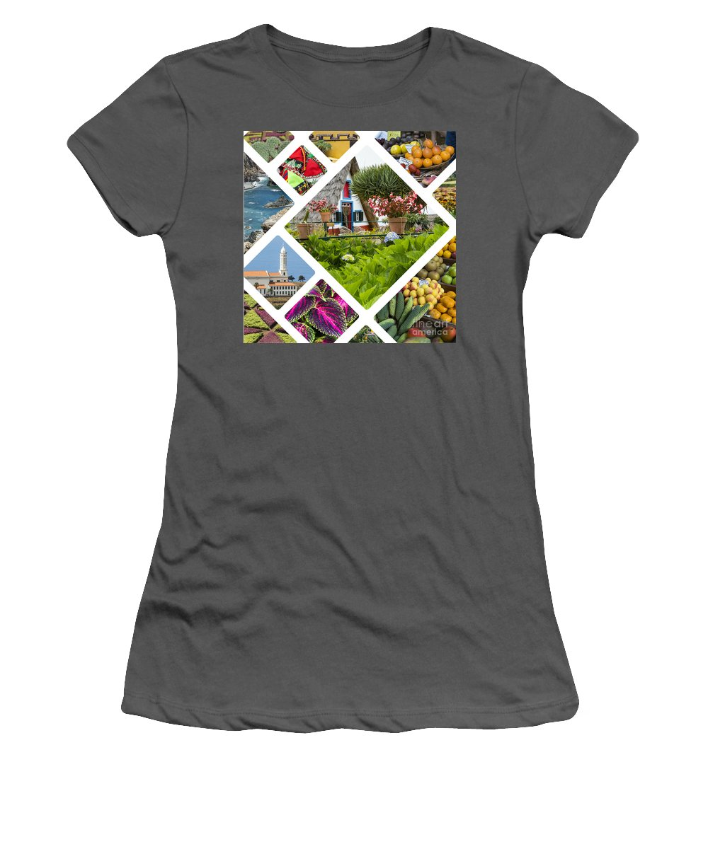 Madeira Women's T-Shirt (Athletic Fit) featuring the photograph Collage Of Madeira by Mariusz Prusaczyk