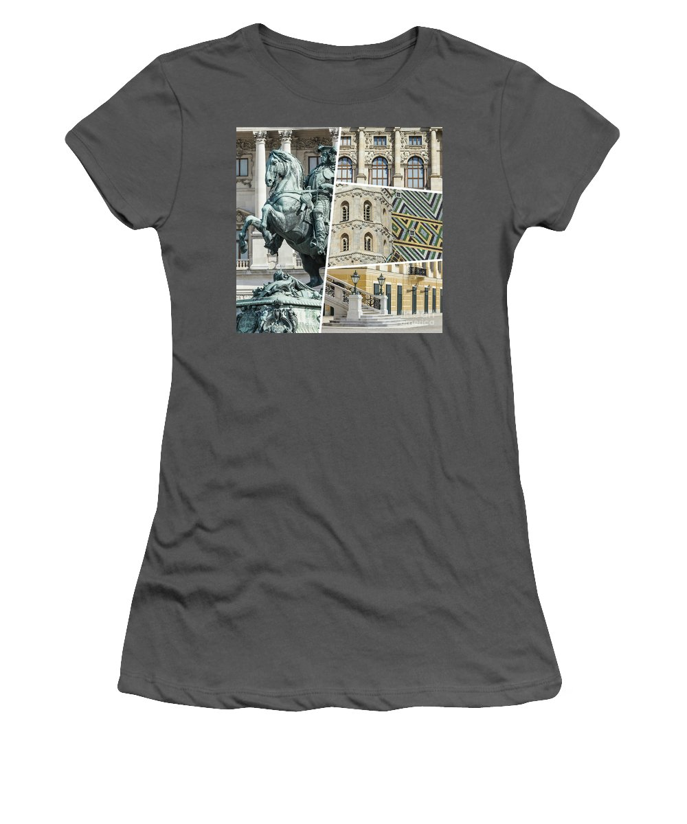 Vienna Women's T-Shirt (Athletic Fit) featuring the photograph Collage Of Vienna by Mariusz Prusaczyk