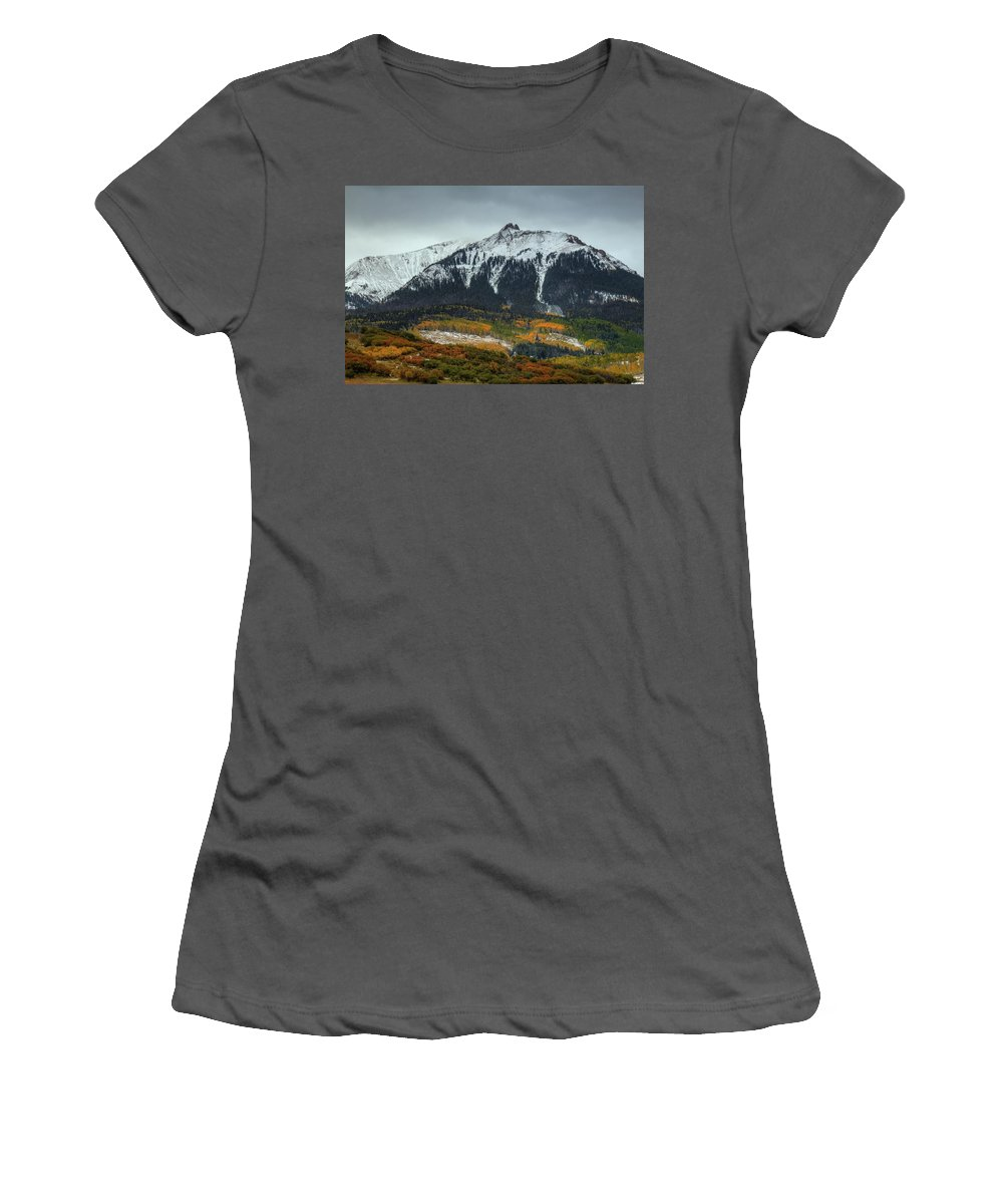 Mountains Women's T-Shirt (Athletic Fit) featuring the photograph Colorado Seasons by Bill Sherrell