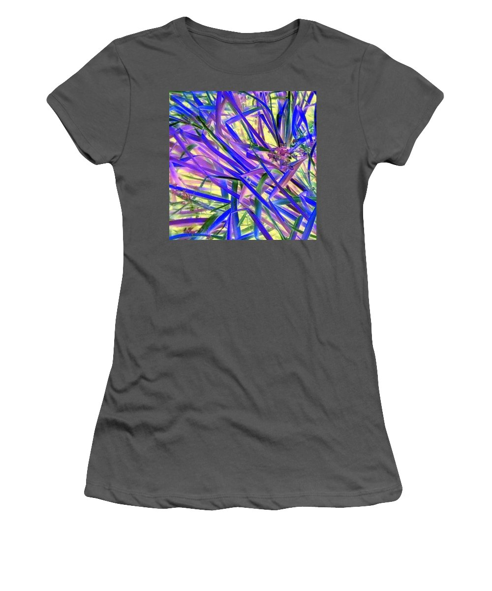Blue Green Purple Negative Women's T-Shirt (Athletic Fit) featuring the photograph Colors by Cindy New