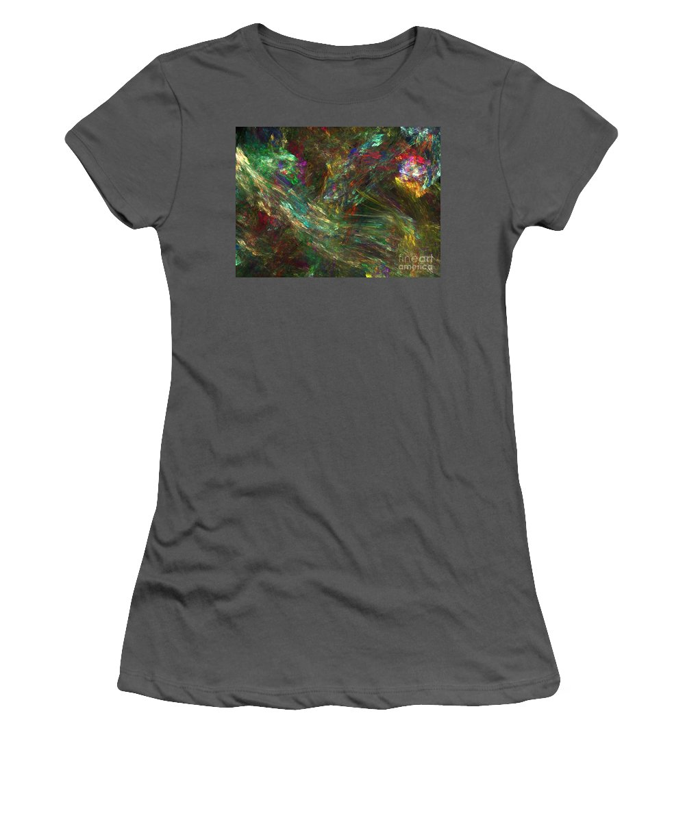 Fractals Women's T-Shirt (Athletic Fit) featuring the digital art Colors Of Light by Richard Rizzo