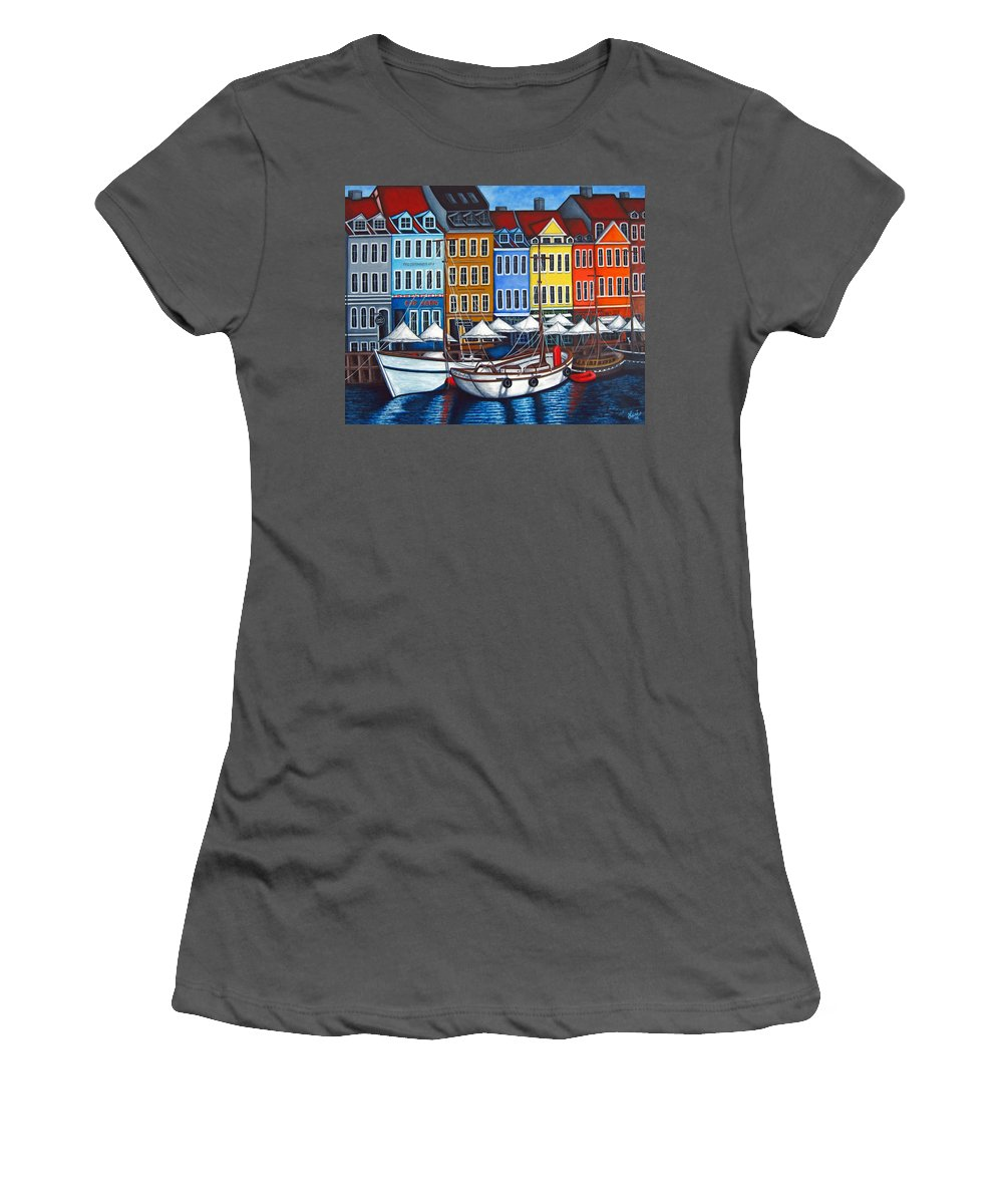 Nyhavn Women's T-Shirt (Athletic Fit) featuring the painting Colours Of Nyhavn by Lisa Lorenz