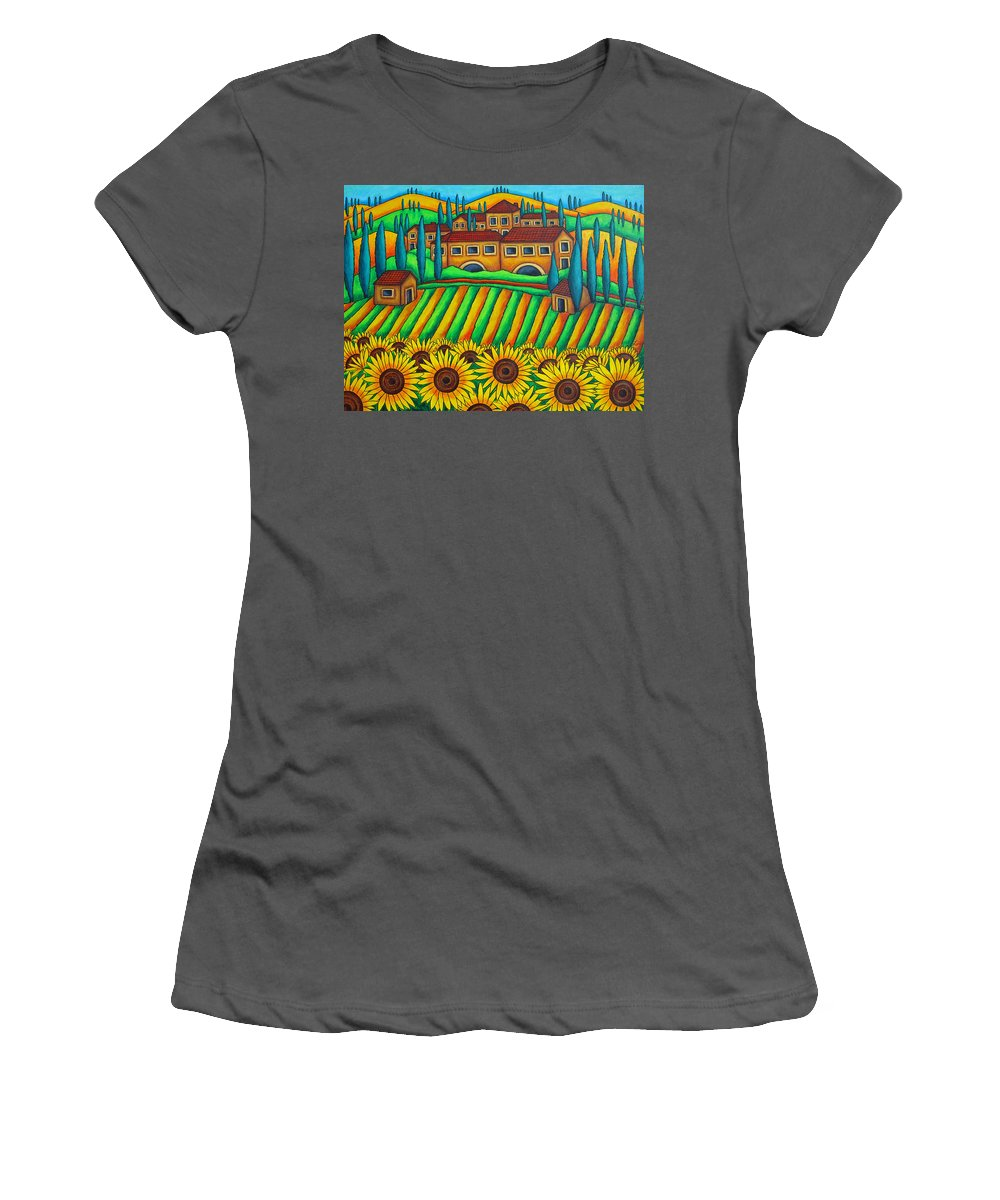 Tuscany Women's T-Shirt (Athletic Fit) featuring the painting Colours Of Tuscany by Lisa Lorenz