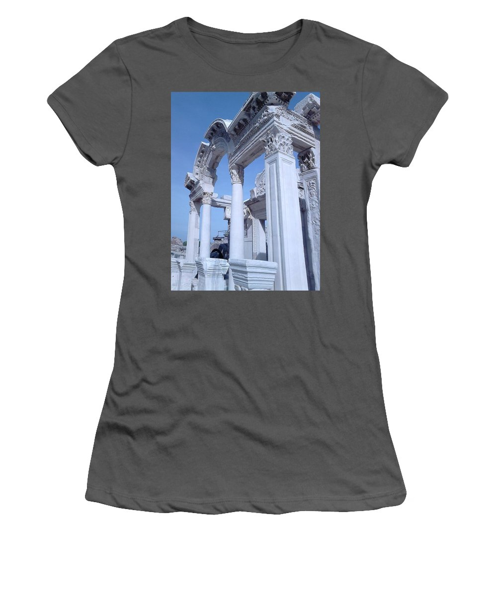 Columns Women's T-Shirt (Athletic Fit) featuring the photograph Columns In Ephesus by Dee McElroy