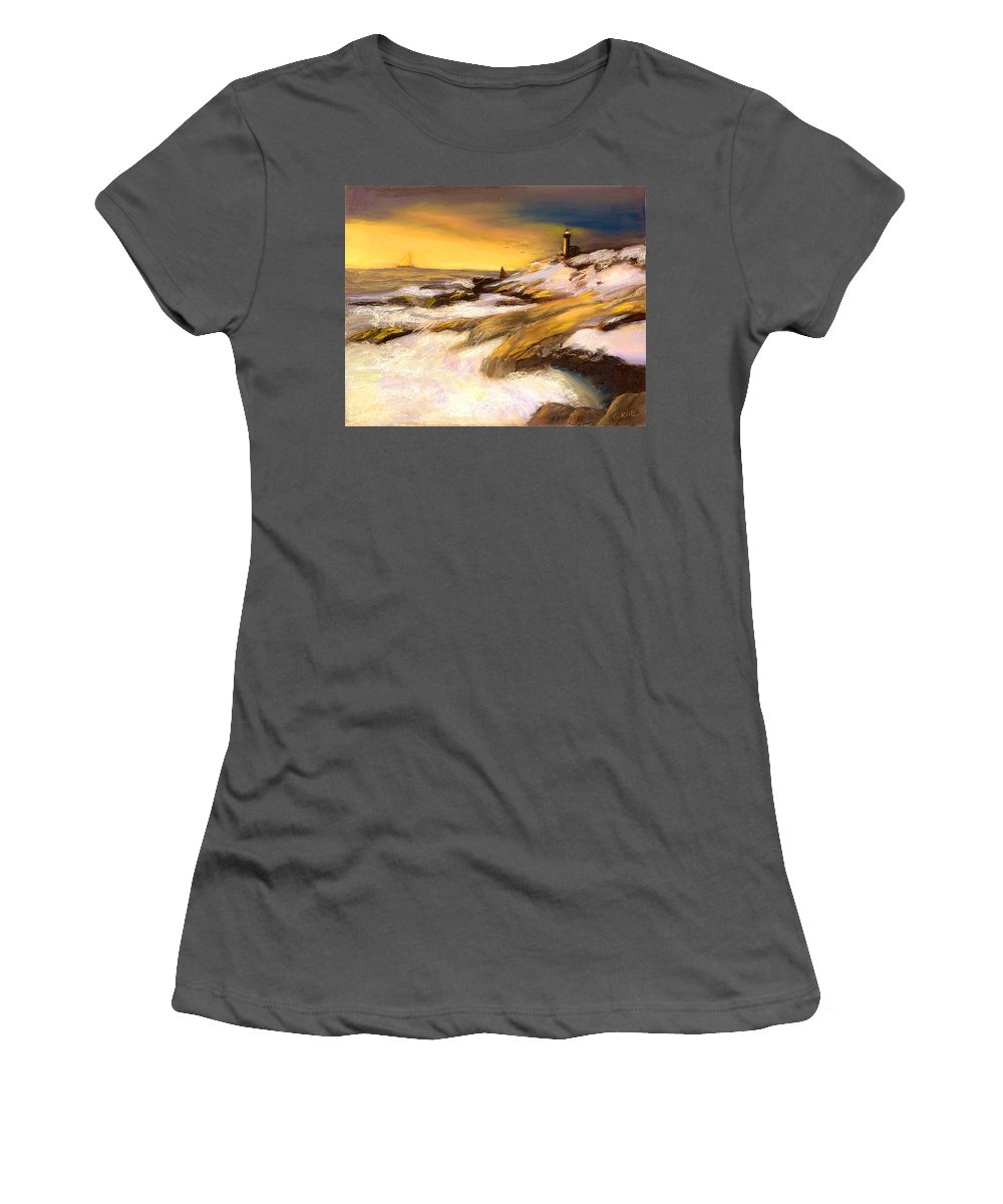 Seascape Women's T-Shirt (Athletic Fit) featuring the painting Come Home by Gail Kirtz