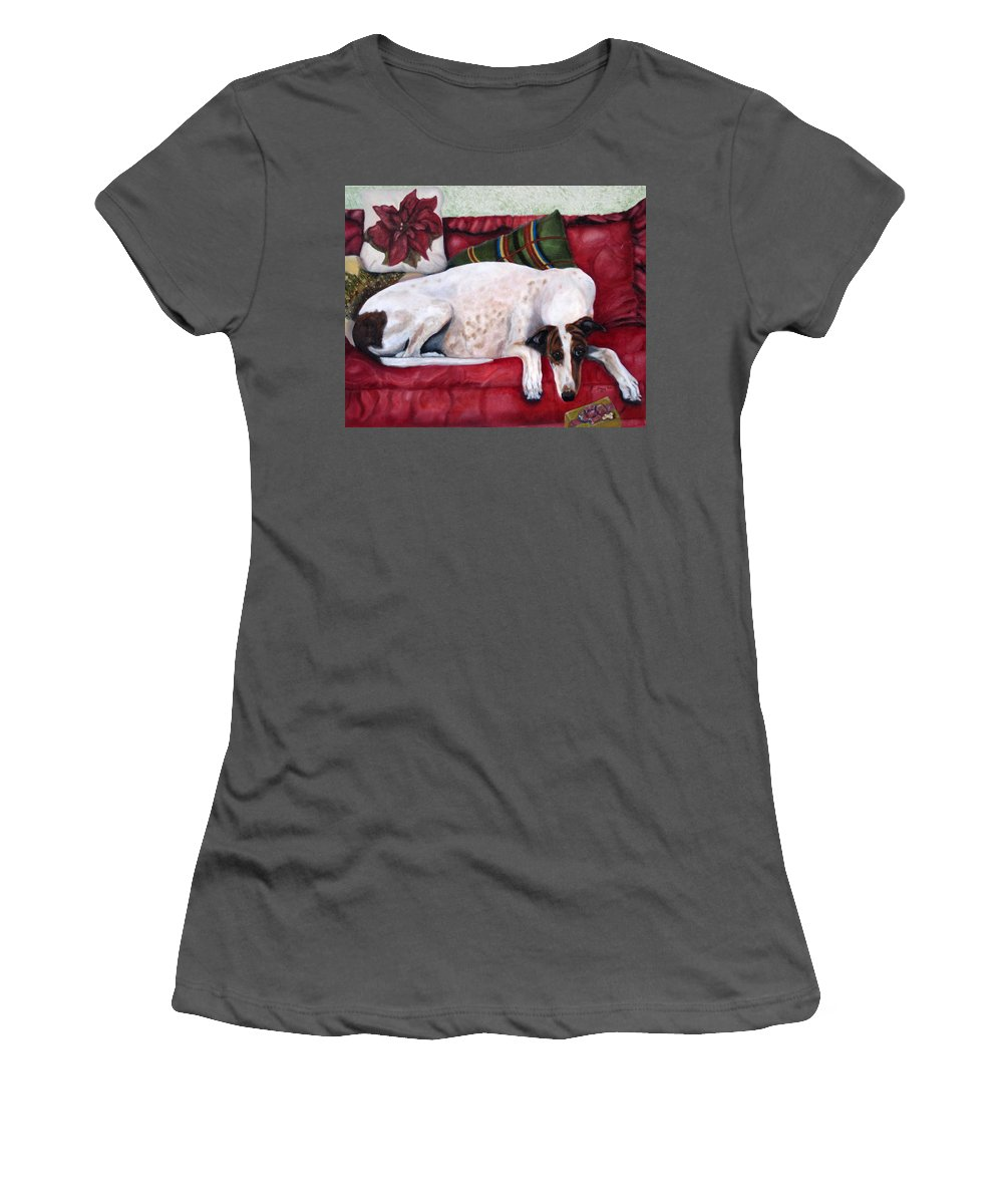 Greyhound Women's T-Shirt (Athletic Fit) featuring the painting Comforts Of Home by Terry Chacon
