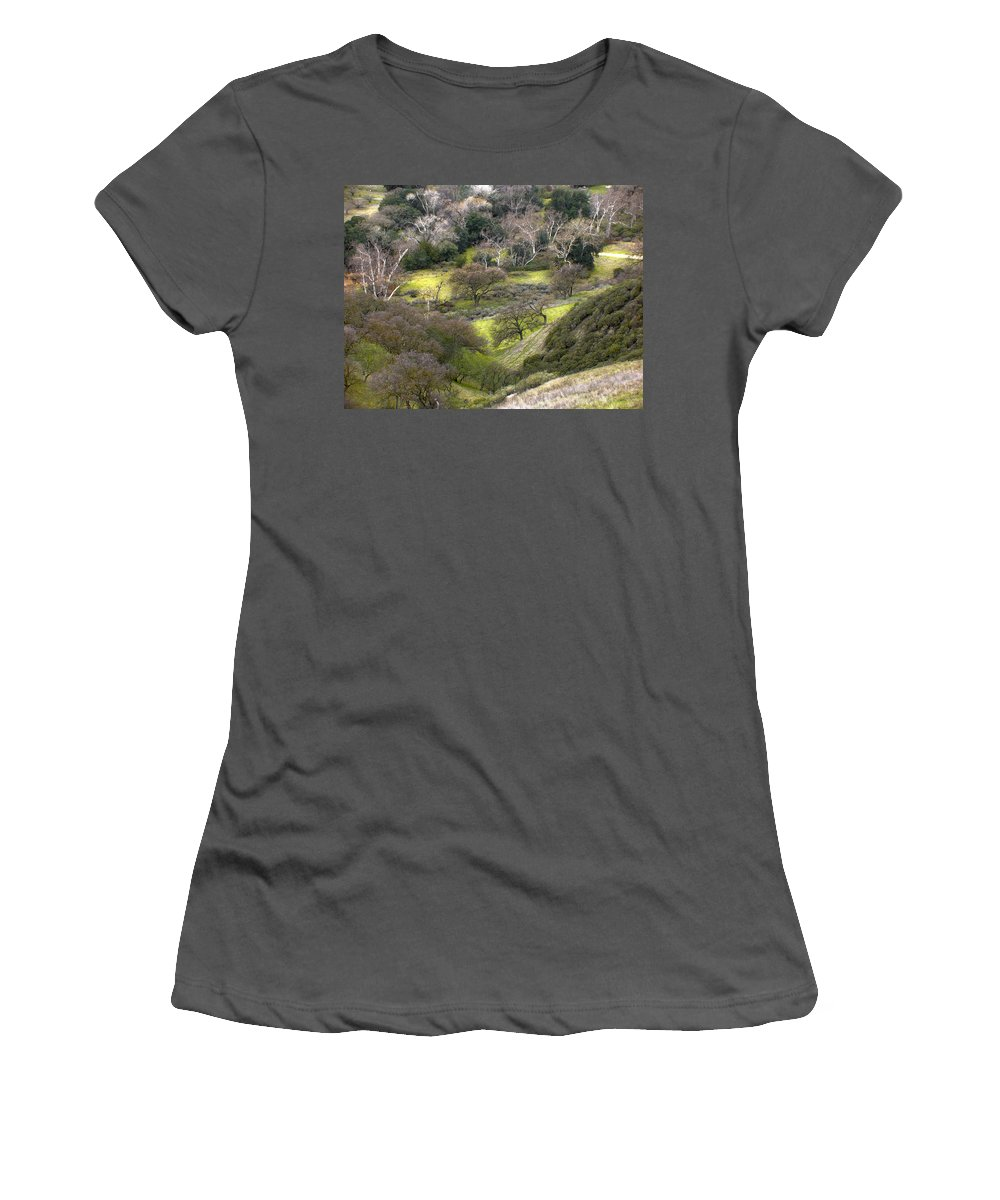 Landscapes Women's T-Shirt (Athletic Fit) featuring the photograph Coming Down The Hill by Karen W Meyer