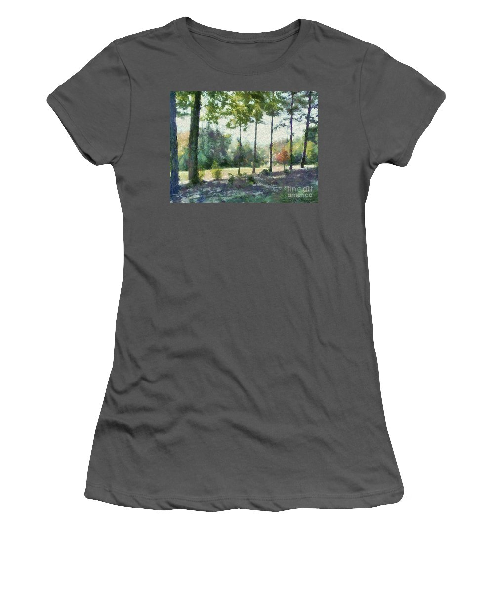 Homestead Women's T-Shirt (Athletic Fit) featuring the painting Coming Out Of The Woods by Paulette B Wright