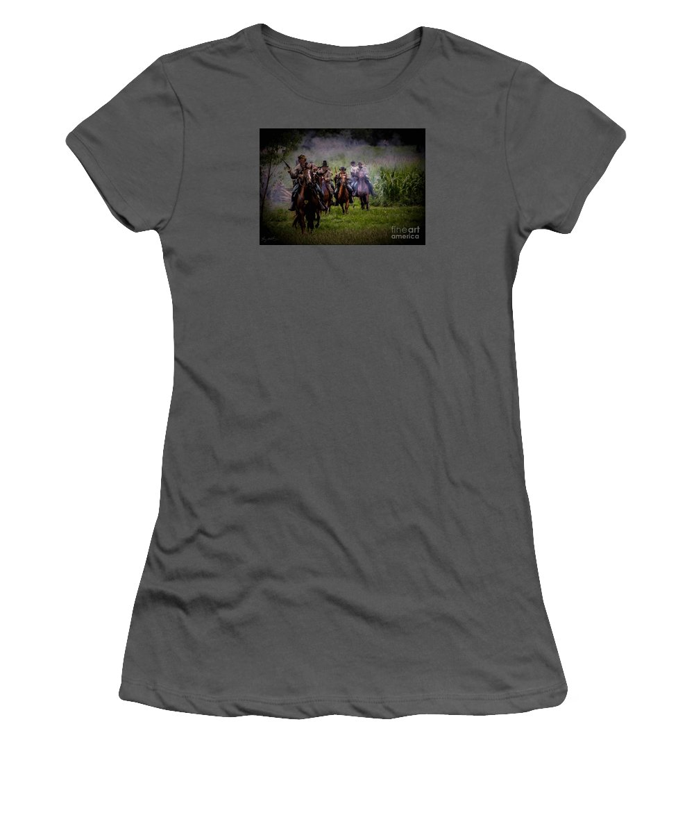 Texas Women's T-Shirt (Athletic Fit) featuring the photograph Confederate Cavalry Charge by Tommy Anderson