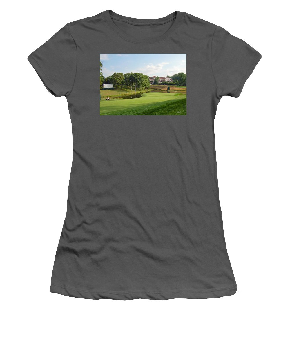 Maryland Women's T-Shirt (Athletic Fit) featuring the photograph Congressional Blue Course - The Finish - Par 4 18th by Ronald Reid