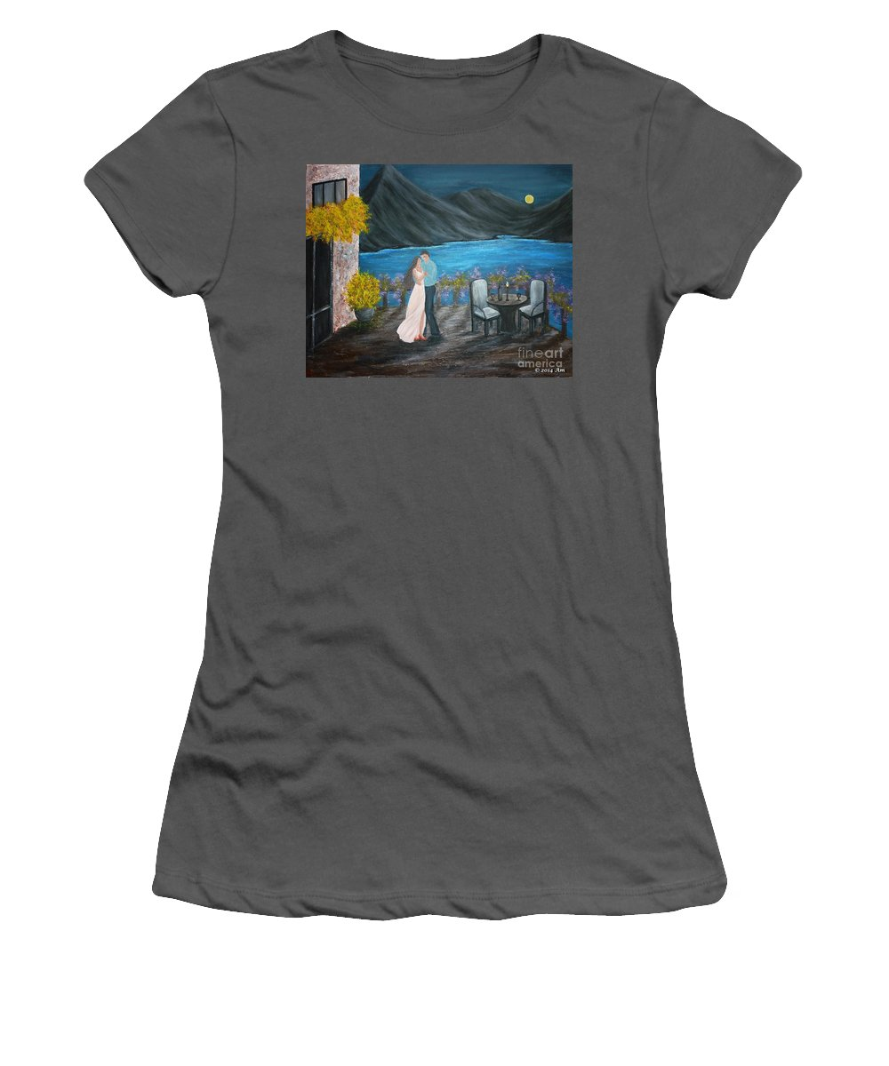 Couple Women's T-Shirt (Athletic Fit) featuring the painting Connected by Andreea Moldovan