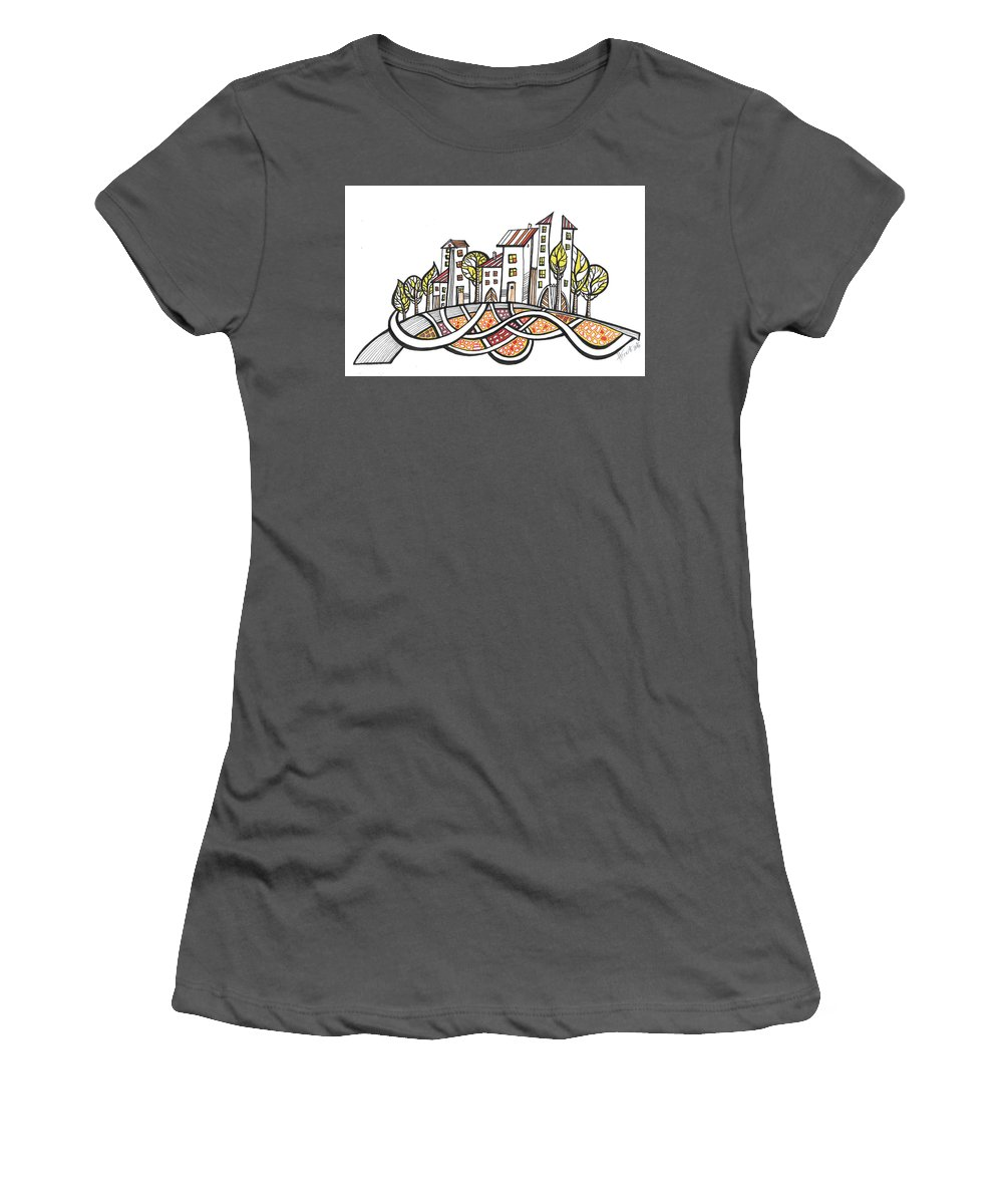 Houses Women's T-Shirt (Athletic Fit) featuring the drawing Connections by Aniko Hencz