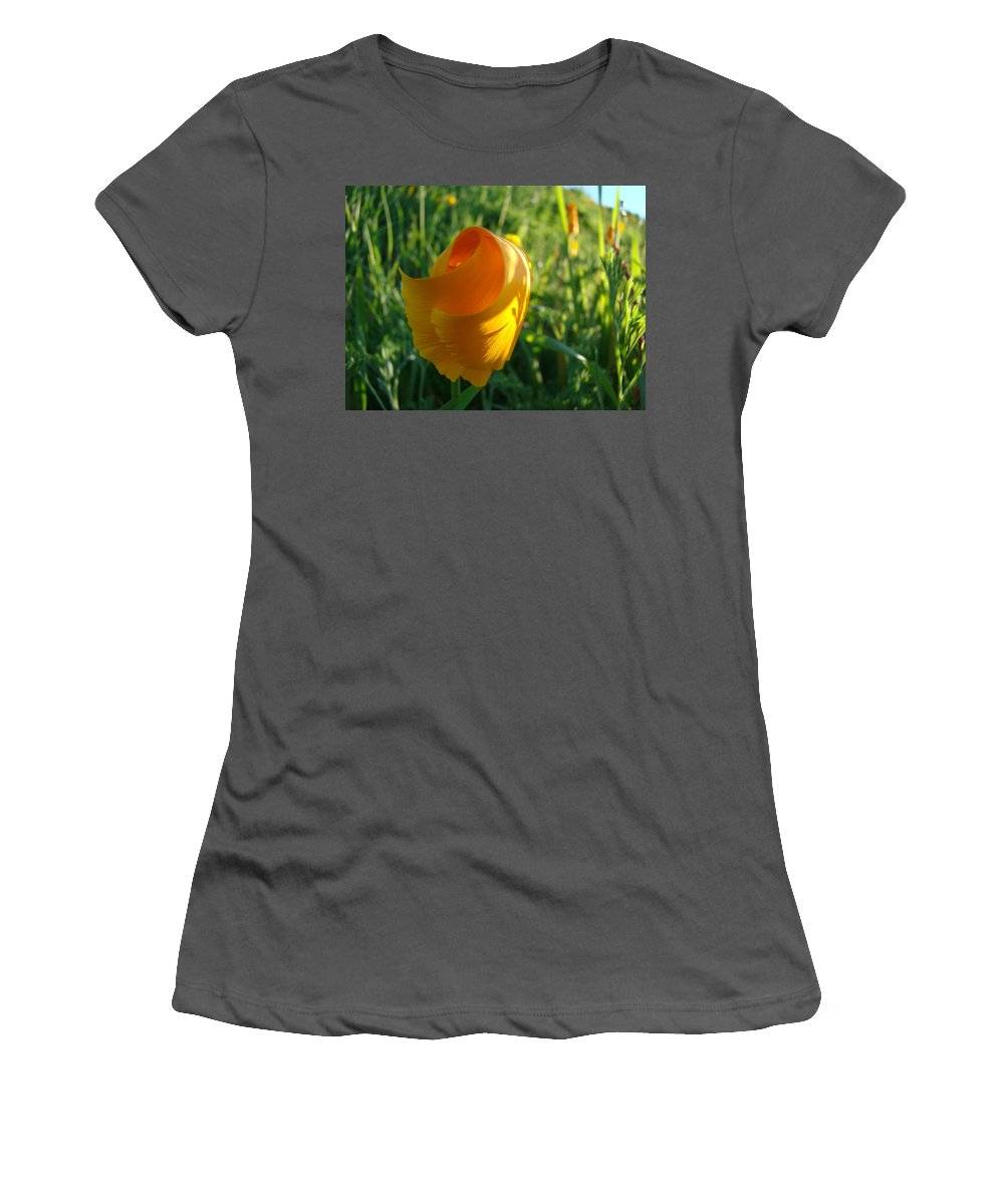 �poppies Artwork� Women's T-Shirt (Athletic Fit) featuring the photograph Contemporary Orange Poppy Flower Unfolding In Sunlight 10 Baslee Troutman by Baslee Troutman