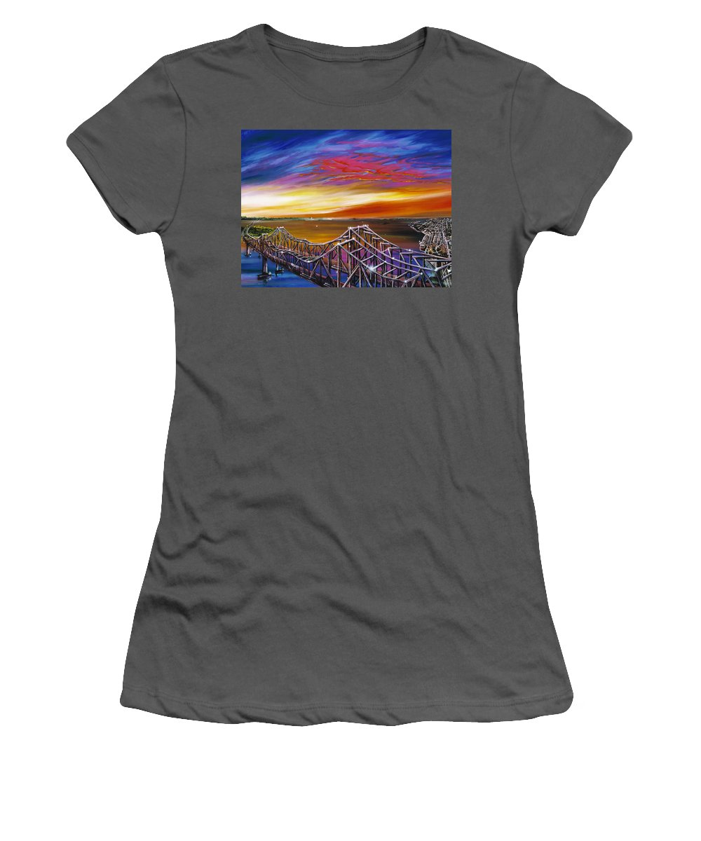 Clouds Women's T-Shirt (Athletic Fit) featuring the painting Cooper River Bridge by James Christopher Hill