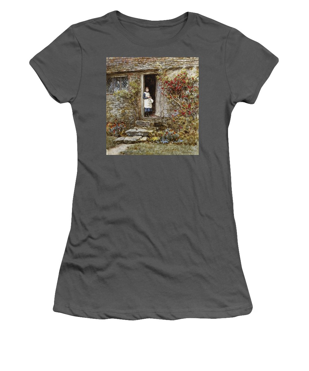 Corcorus Japonica Women's T-Shirt (Athletic Fit) featuring the painting Corcorus Japonica by Helen Allingham