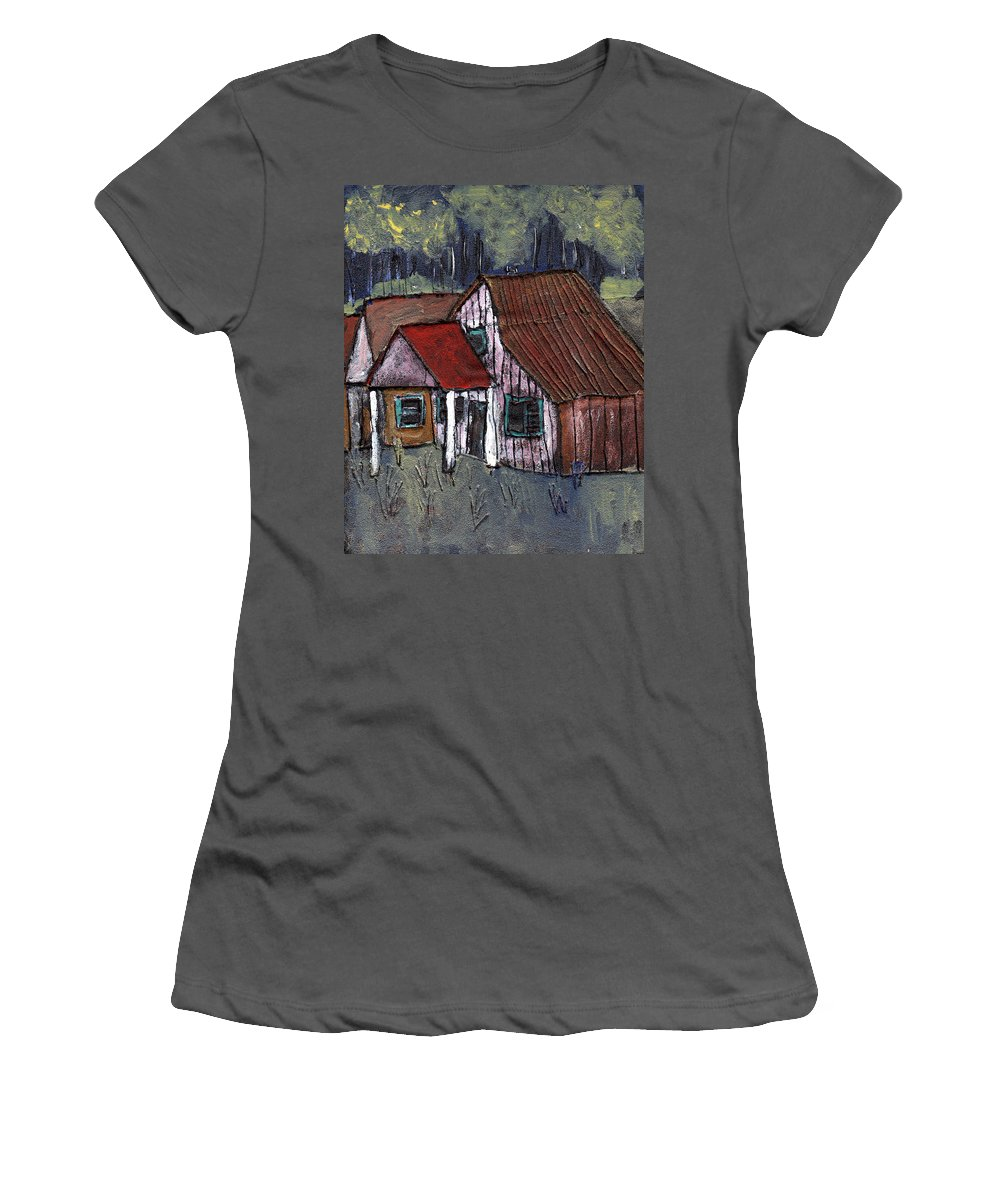 Cottage Women's T-Shirt (Athletic Fit) featuring the painting Cottage In The Woods by Wayne Potrafka