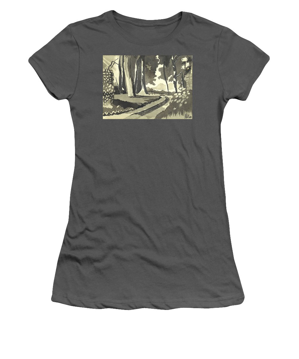 Rural Women's T-Shirt (Athletic Fit) featuring the painting Country Lane In Evening Shadow by Kip DeVore