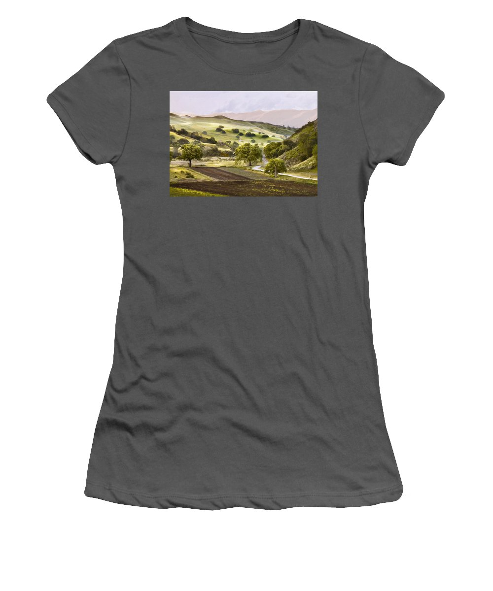 California Women's T-Shirt (Athletic Fit) featuring the digital art Country Morning by Sharon Foster