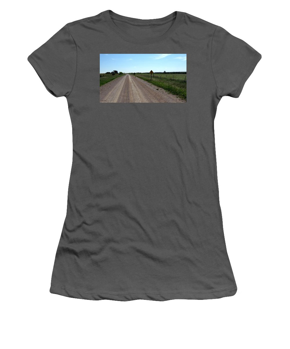 Texas Back Roads Women's T-Shirt (Athletic Fit) featuring the photograph Country Roads by Amy Hosp