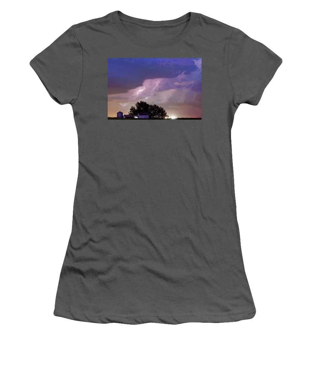 Barns Women's T-Shirt (Athletic Fit) featuring the photograph County Line Northern Colorado Lightning Storm Cropped by James BO Insogna
