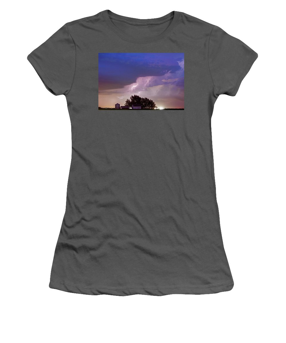 Lightning Women's T-Shirt (Athletic Fit) featuring the photograph County Line Northern Colorado Lightning Storm by James BO Insogna