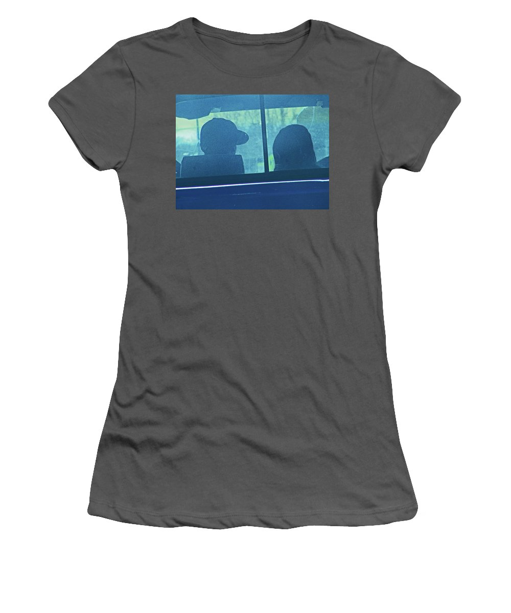 Abstract Women's T-Shirt (Athletic Fit) featuring the photograph Couple In The Truck by Lenore Senior