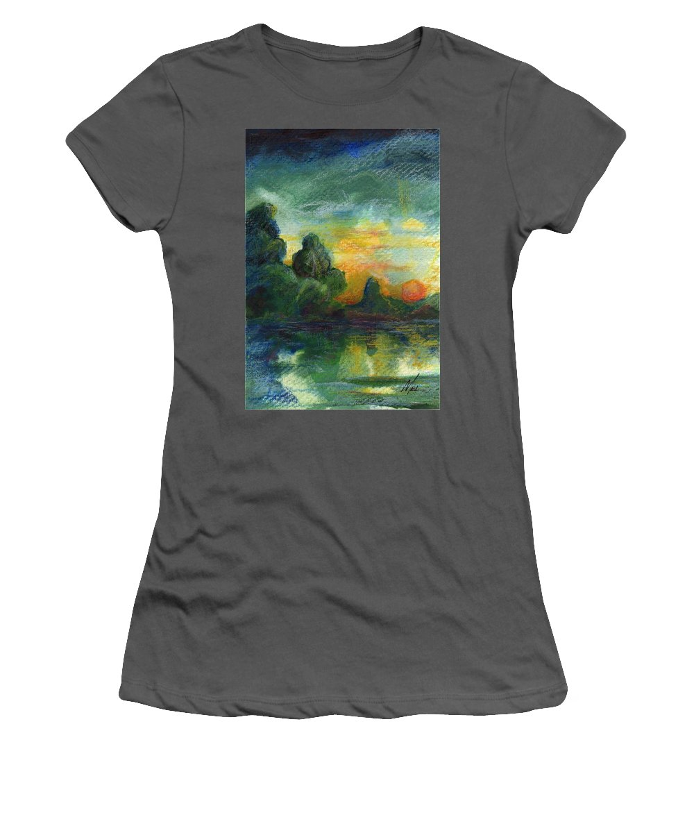 Cove Women's T-Shirt (Athletic Fit) featuring the painting Cove Contento by Melody Horton Karandjeff