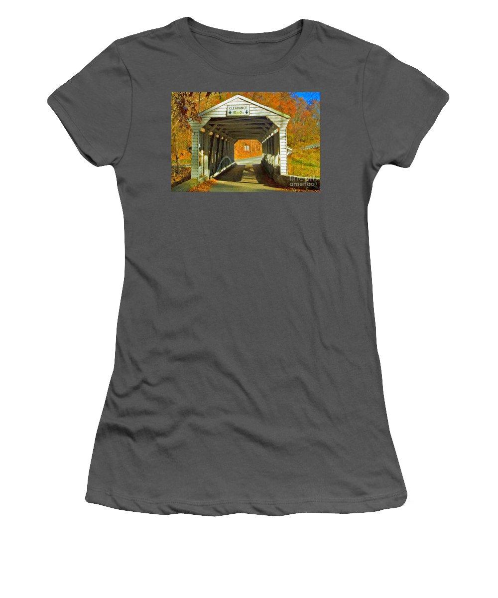 Covered Bridge Revolutionary Civil War Impasto Women's T-Shirt (Athletic Fit) featuring the photograph Covered Bridge Impasto Oil by David Zanzinger