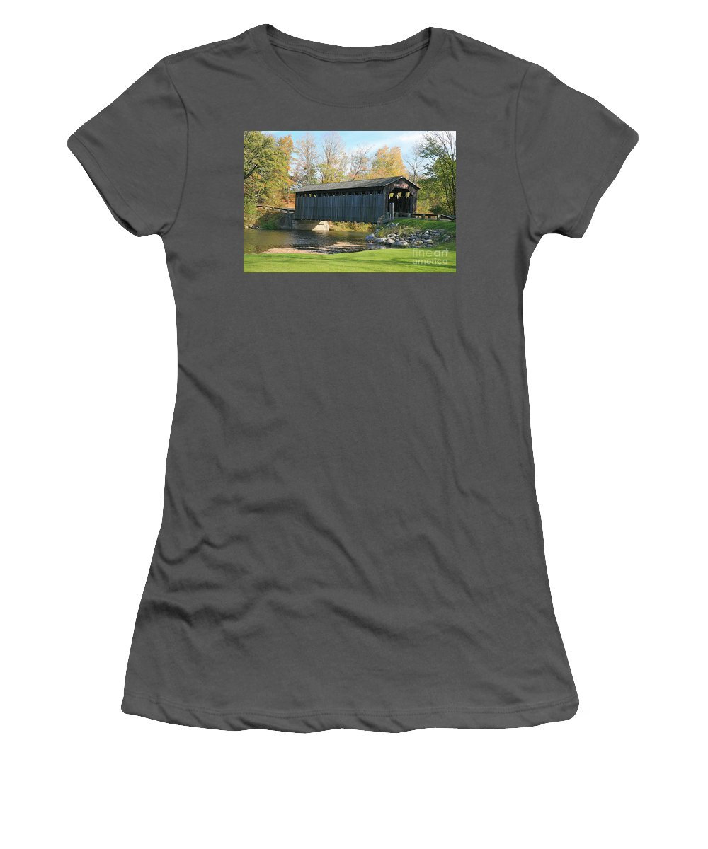 Covered Bridge Women's T-Shirt (Athletic Fit) featuring the photograph Covered Bridge by Robert Pearson