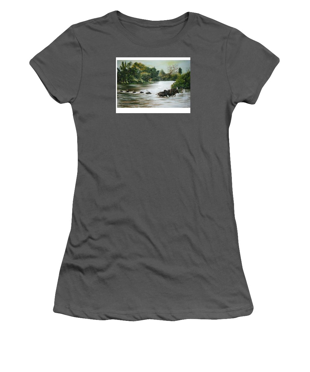 Cows Women's T-Shirt (Athletic Fit) featuring the painting Cow Habitant by Olaoluwa Smith