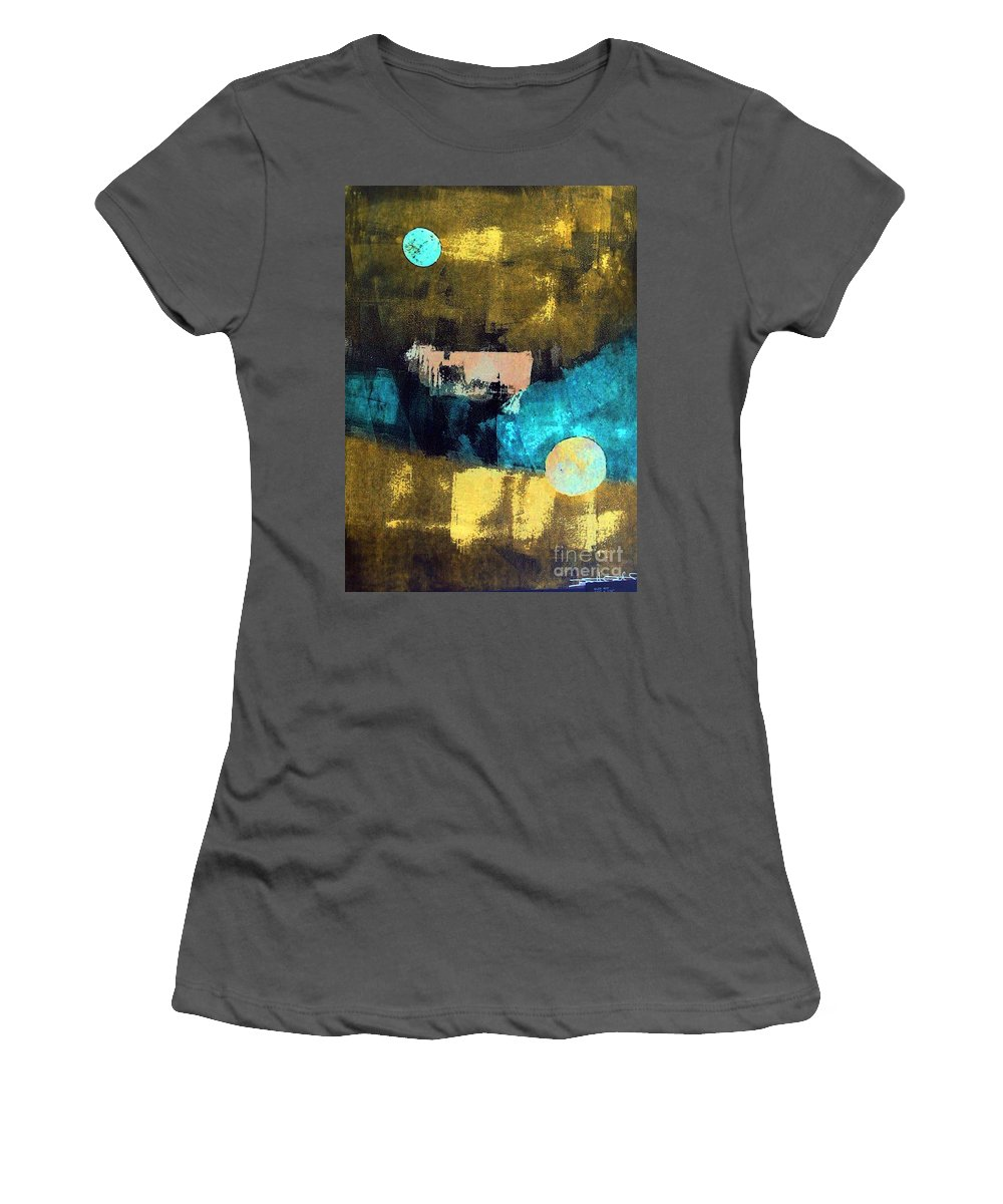 Cow Women's T-Shirt (Athletic Fit) featuring the painting Cow Jumped Over The Moon by Dawn Hough Sebaugh