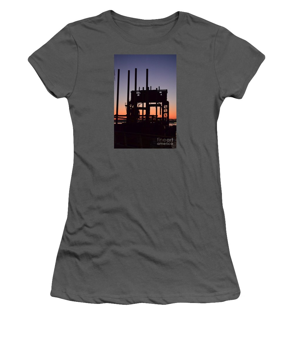 Crane At Sunset Women's T-Shirt (Athletic Fit) featuring the photograph Crane At Sunset by Des Brownlie