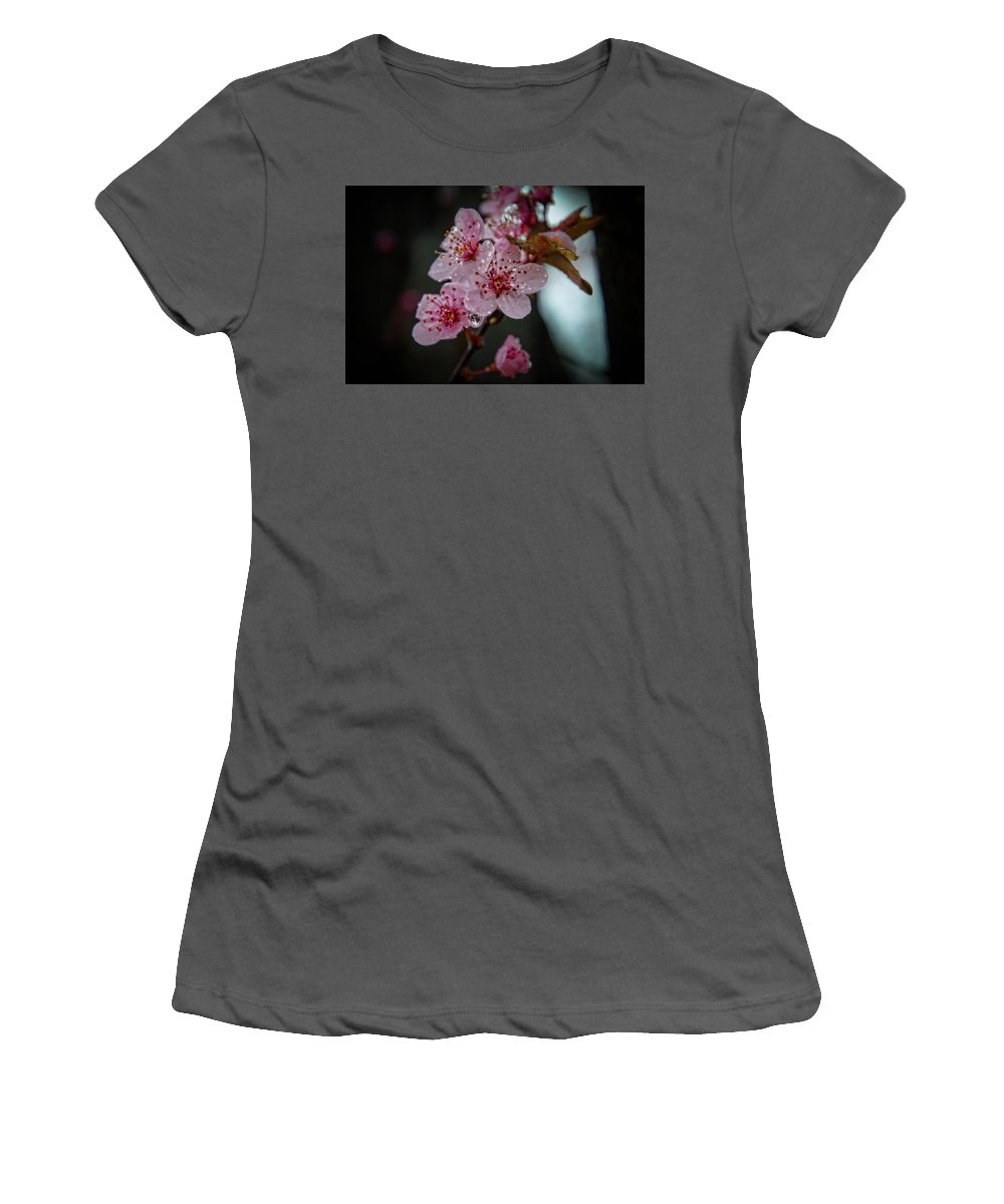 Pink Women's T-Shirt (Athletic Fit) featuring the photograph Crapabble In The Rain by Ina Kratzsch